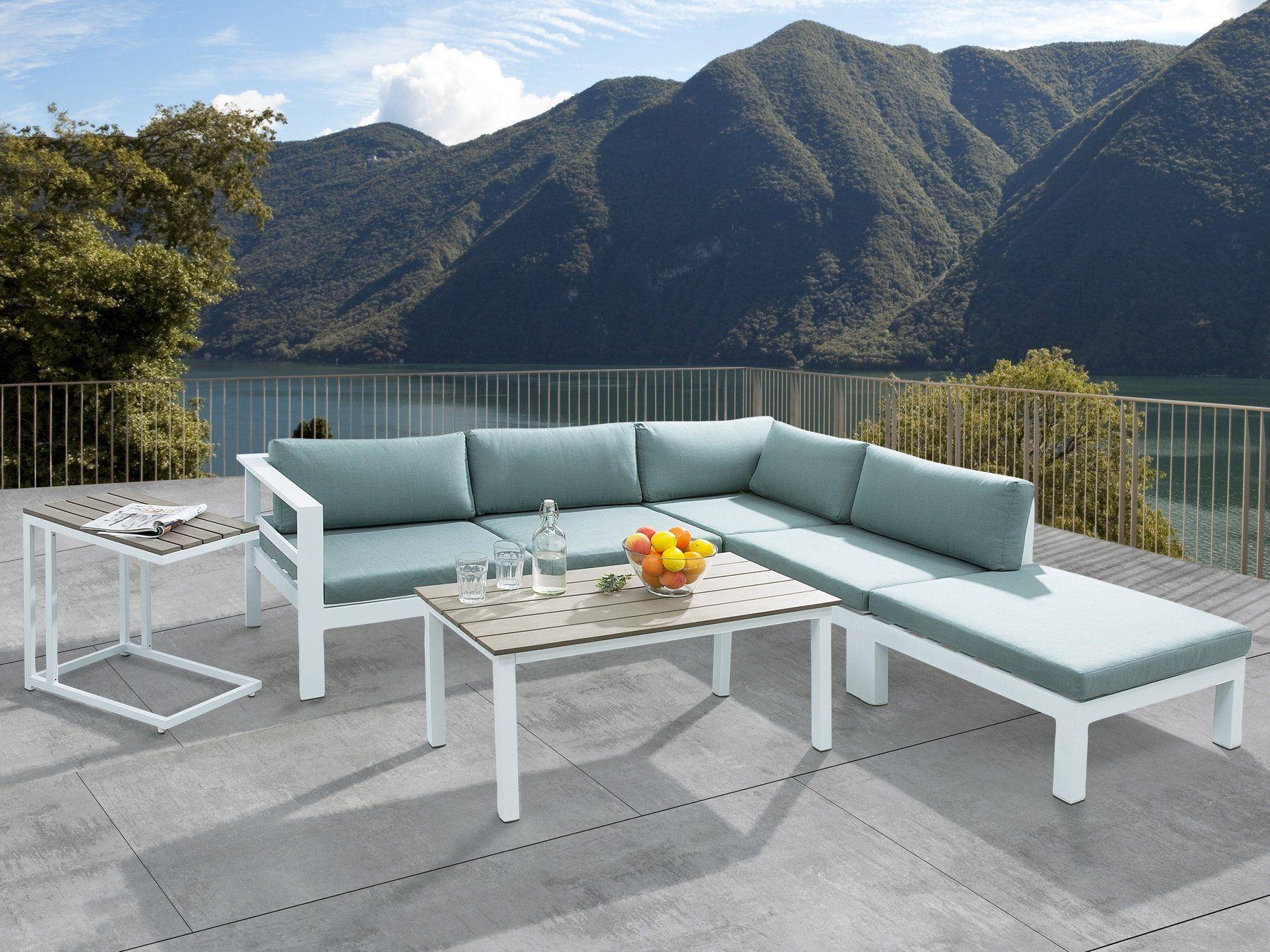 Meble Ogrodowe Białe – Tarasowe – Stół + Sofa + Podnóżek In Messina Garden Stools Set (Set Of 2) (View 8 of 25)