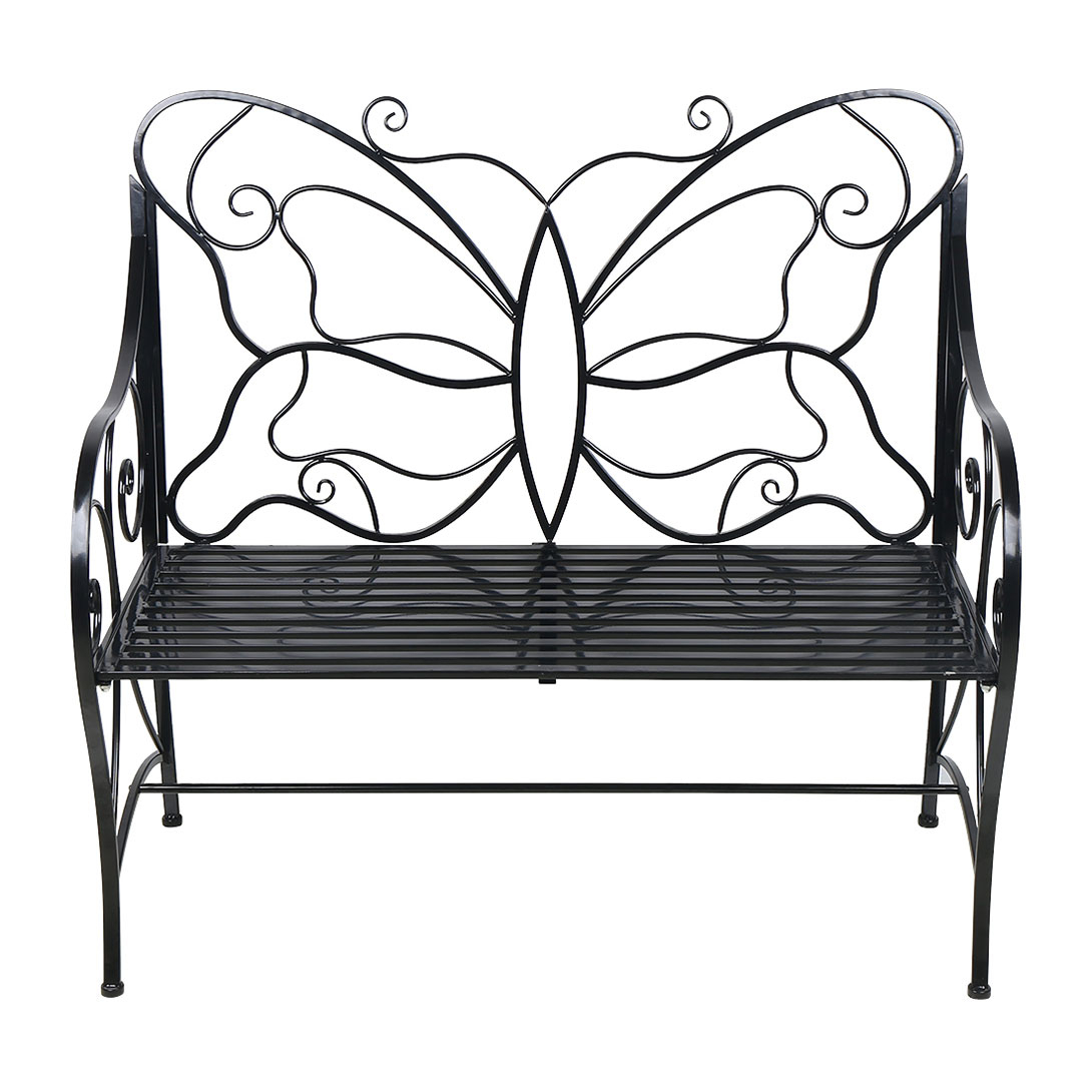 Metal Antique Outdoor Garden Bench Leisure Butterfly Bench, Black For Caryn Colored Butterflies Metal Garden Benches (View 17 of 25)