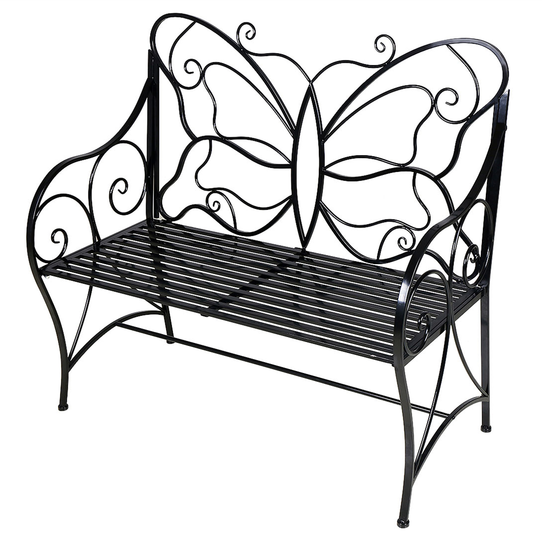 Metal Antique Outdoor Garden Bench Leisure Butterfly Bench, Black Pertaining To Caryn Colored Butterflies Metal Garden Benches (View 21 of 25)