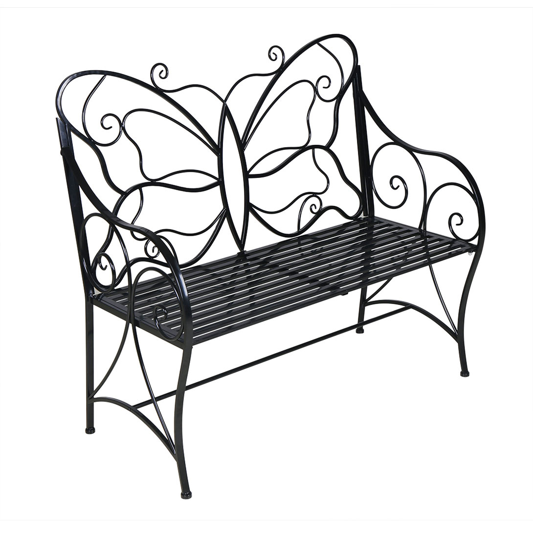 Metal Antique Outdoor Garden Bench Leisure Butterfly Bench, Black – Walmart Intended For Caryn Colored Butterflies Metal Garden Benches (View 14 of 25)