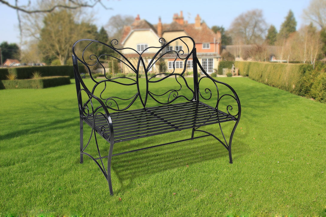 Metal Antique Outdoor Garden Bench Leisure Butterfly Bench, Black With Regard To Caryn Colored Butterflies Metal Garden Benches (View 25 of 25)