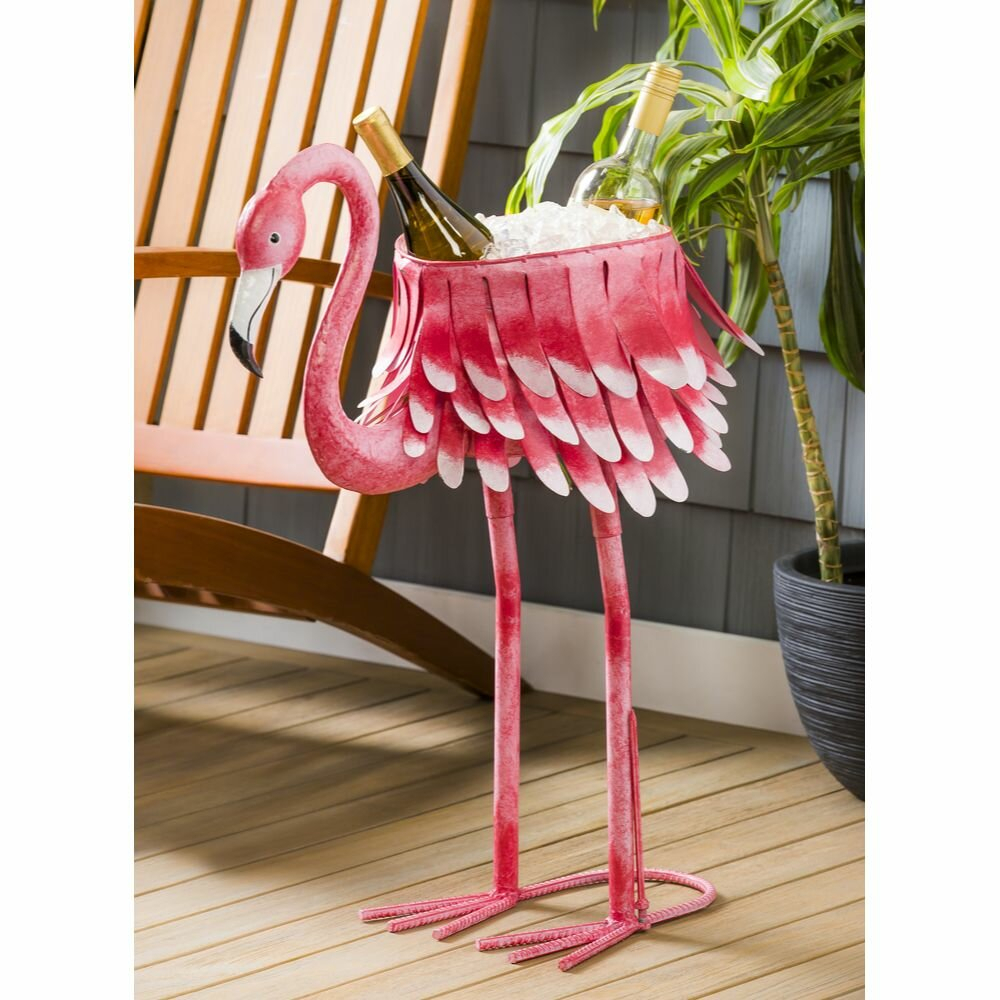Metal Flamingo Chiller/Planter Intended For Flamingo Metal Garden Benches (View 11 of 25)