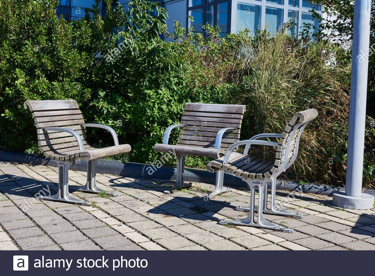 Metal Seats Seating High Resolution Stock Photography And Pertaining To Pauls Steel Garden Benches (View 15 of 25)