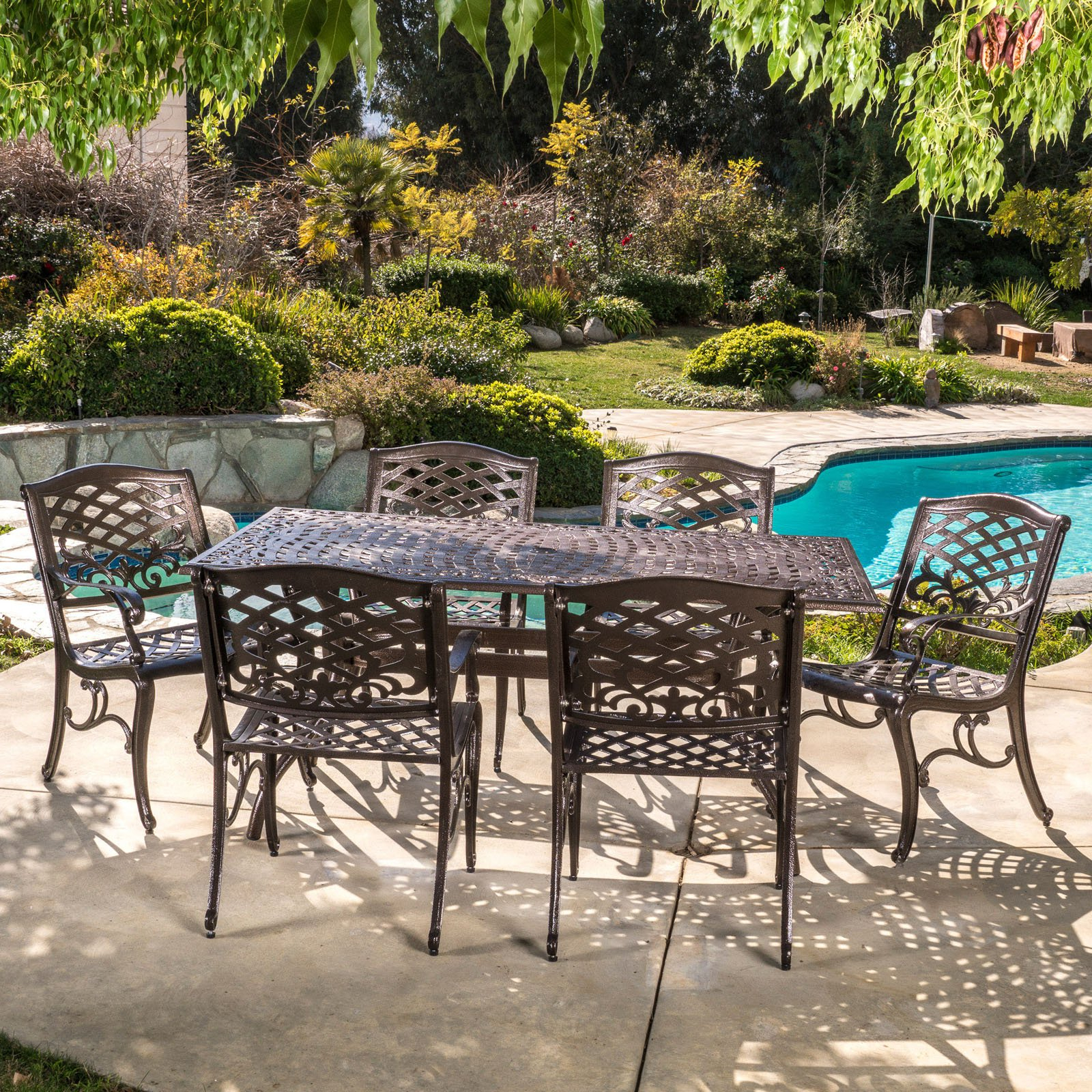 Michelle Aluminum 7 Piece Rectangular Patio Dining Set Pertaining To Michelle Metal Garden Benches (View 23 of 25)