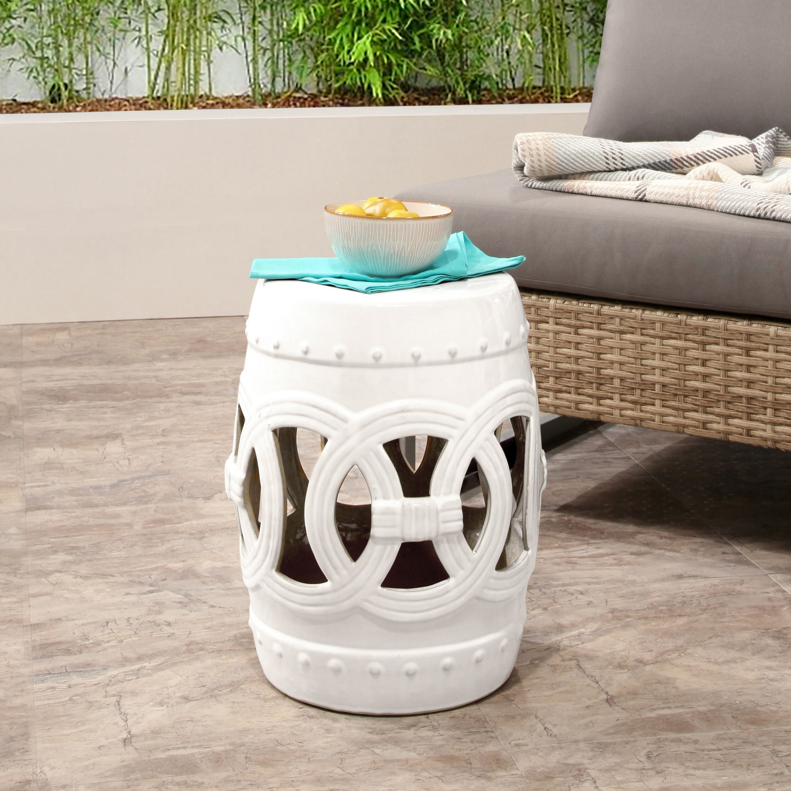 Mistana Holbeach Ceramic Garden Stool Regarding Feliciana Ceramic Garden Stools (View 15 of 25)