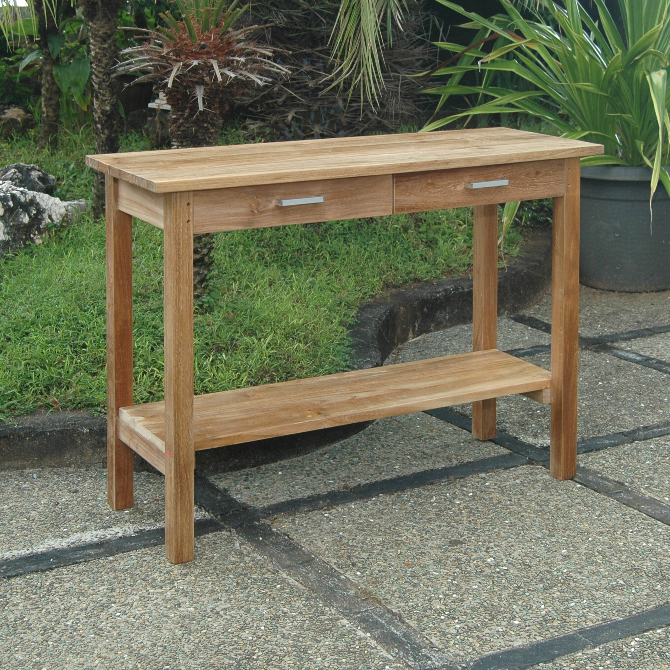 Modena Solid Wood Bar Table Intended For Coleen Outdoor Teak Garden Benches (View 25 of 25)