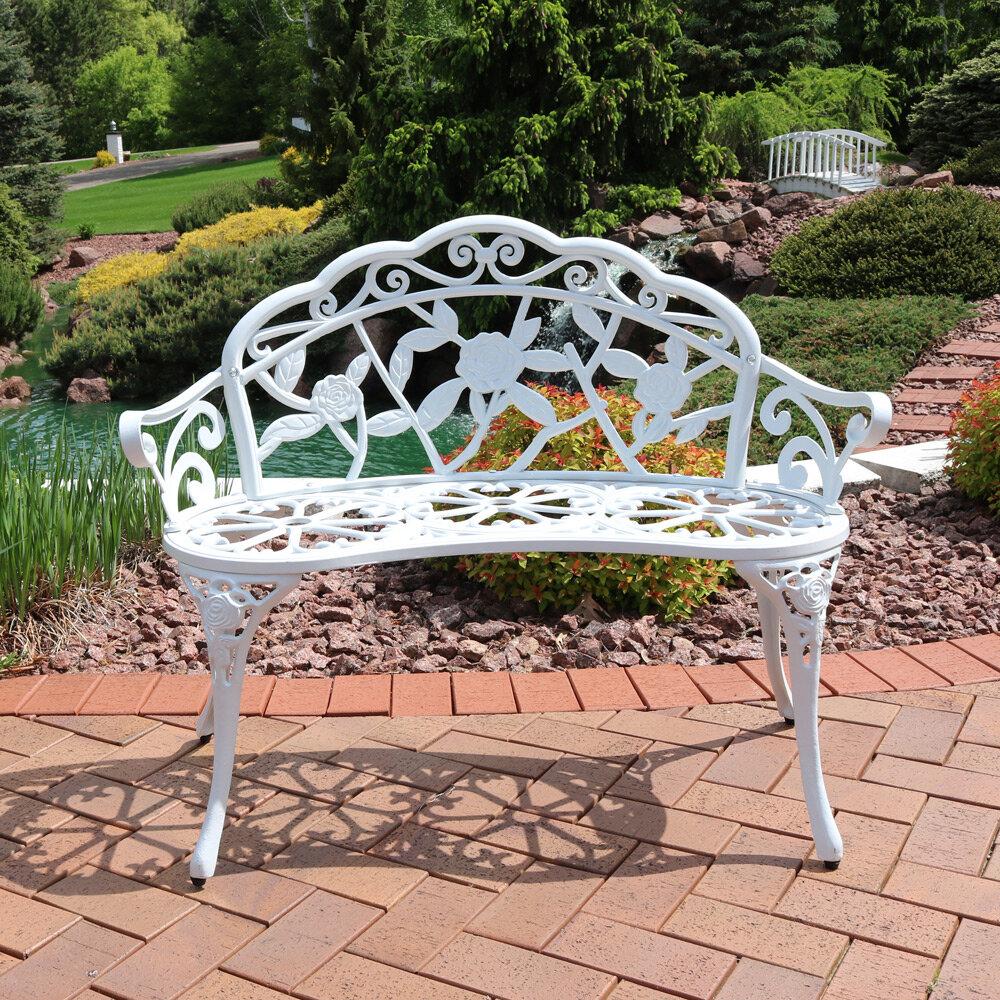 Montezuma Cast Aluminum Garden Bench With Regard To Cavin Garden Benches (View 10 of 25)