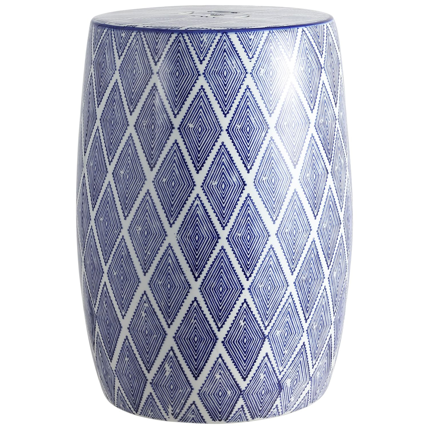 "Moroccan Diamonds 18"" Ceramic Drum Garden Stool, Blue/White Within Canarsie Ceramic Garden Stools (View 24 of 25)"