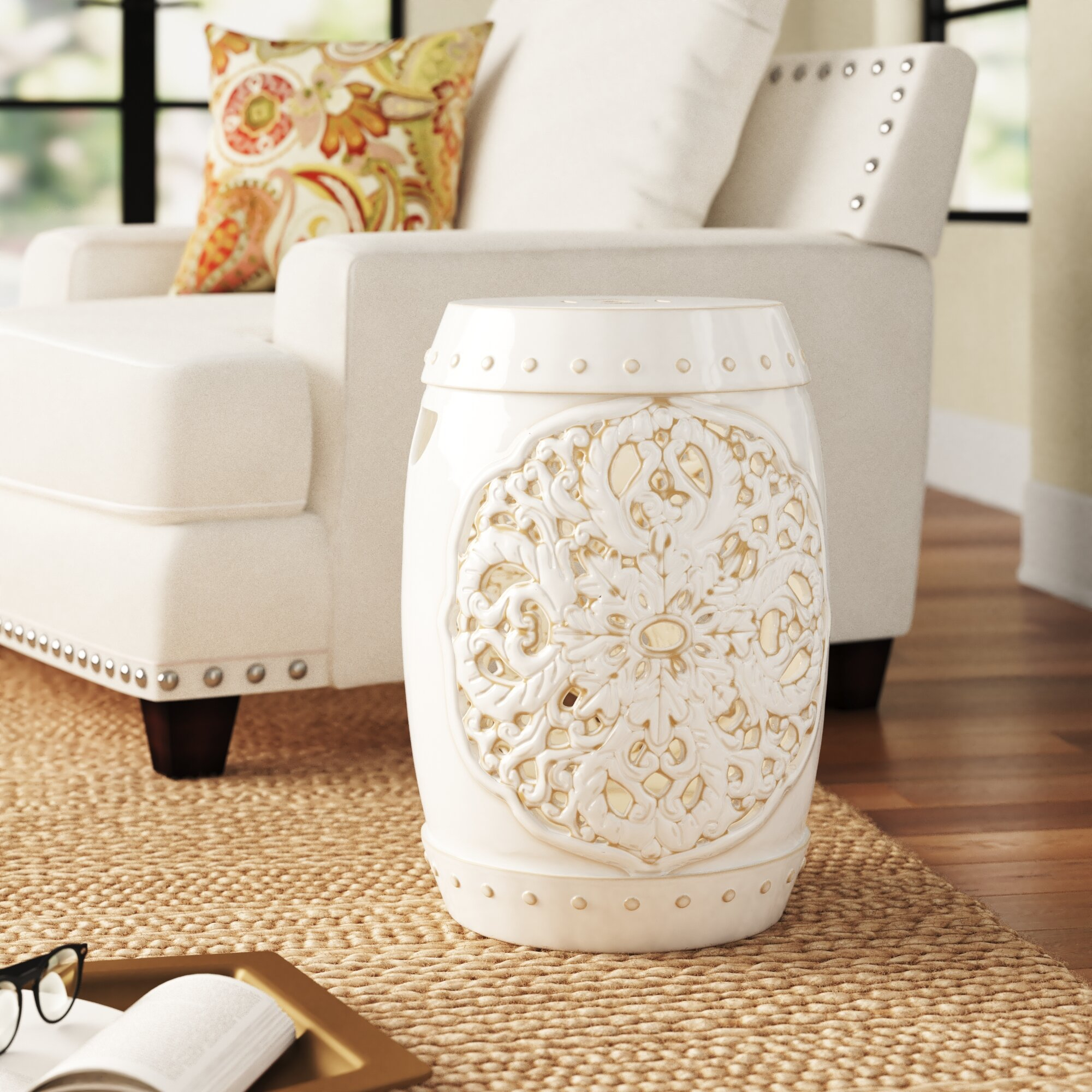 Nagle Ceramic Garden Stool Pertaining To Keswick Ceramic Garden Stools (View 11 of 25)
