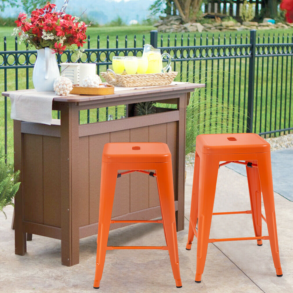 New Metal Chair Height Bar Stools 24 Inches Indoor/Outdoor Stool Patio Furniture For Holbrook Ceramic Garden Stools (View 15 of 25)