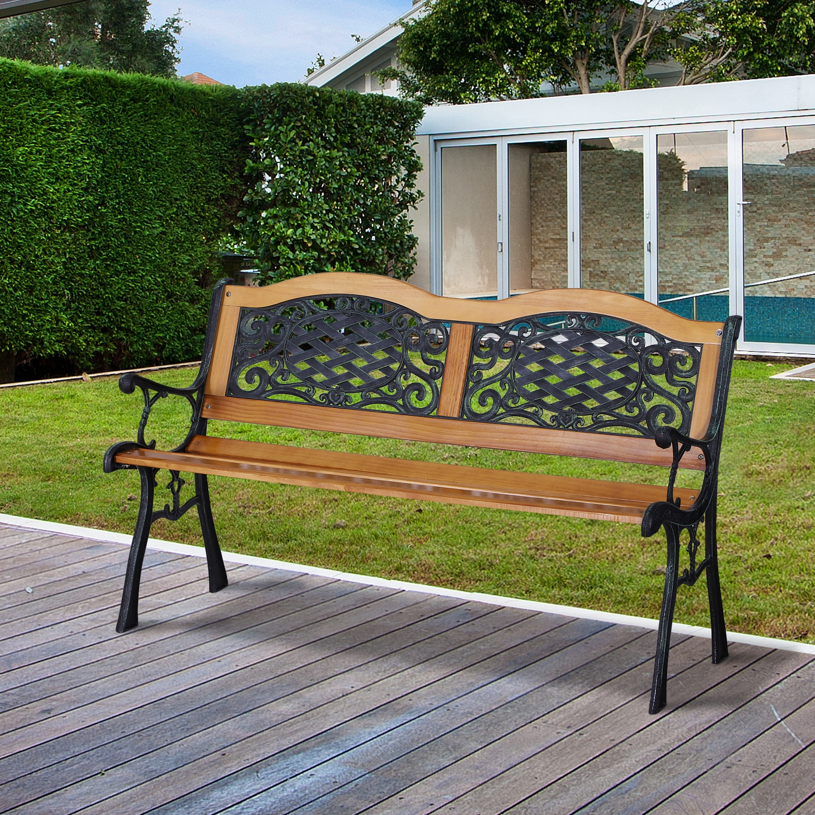 Ogród I Taras Cast Iron & Hardwood Classic Outdoor Garden With Regard To Madeline Vintage Bird Cast Iron Garden Benches (View 25 of 25)