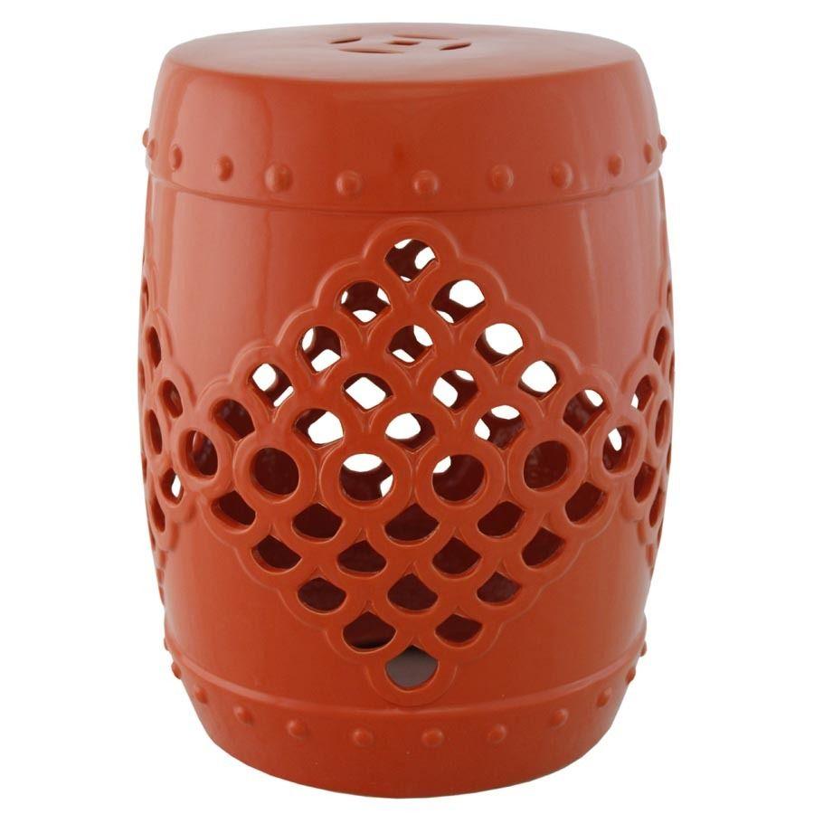 Orange Ceramic Garden Stool | Garden Stool, Ceramic Garden Within Aloysius Ceramic Garden Stools (View 4 of 25)