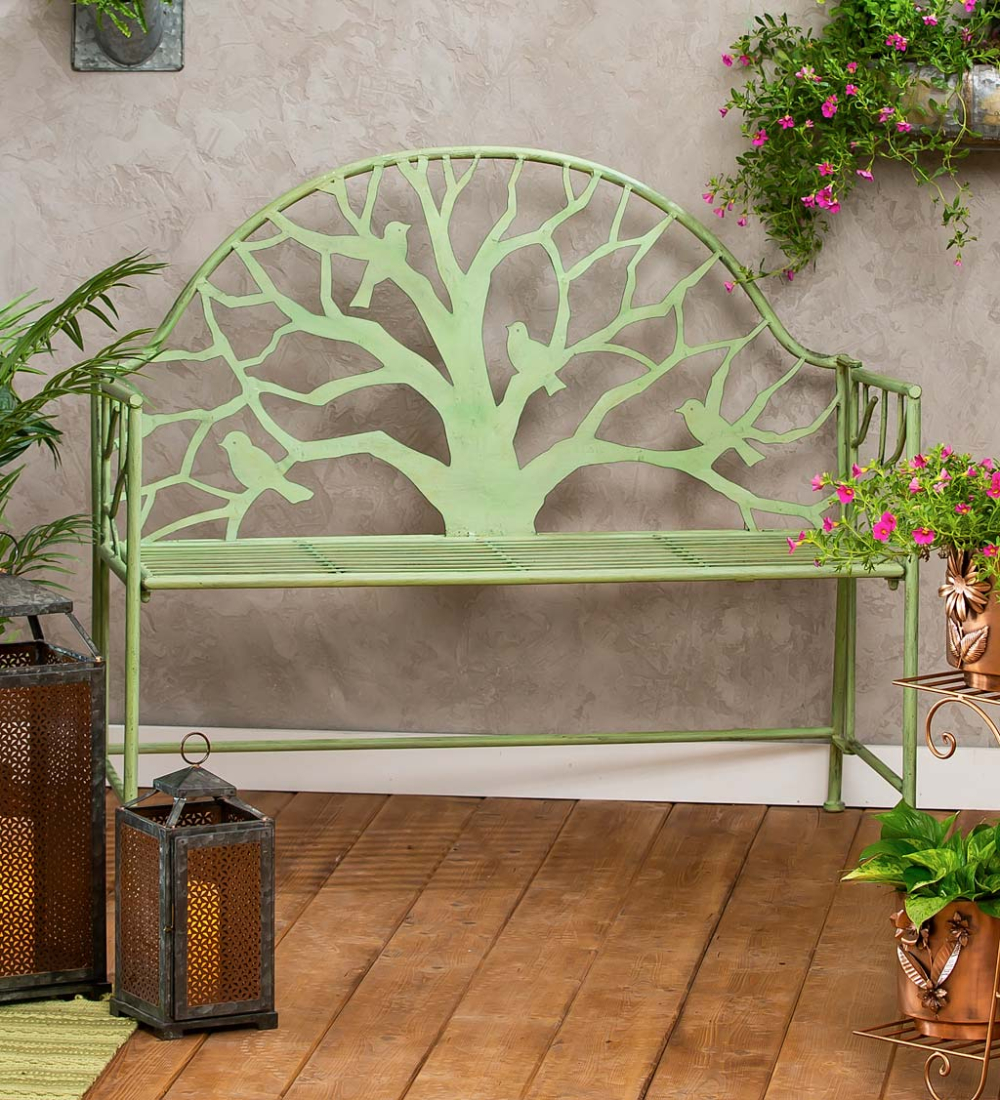 Our Green Metal Tree Of Life Garden Bench Makes A Statement Intended For Tree Of Life Iron Garden Benches (View 10 of 25)