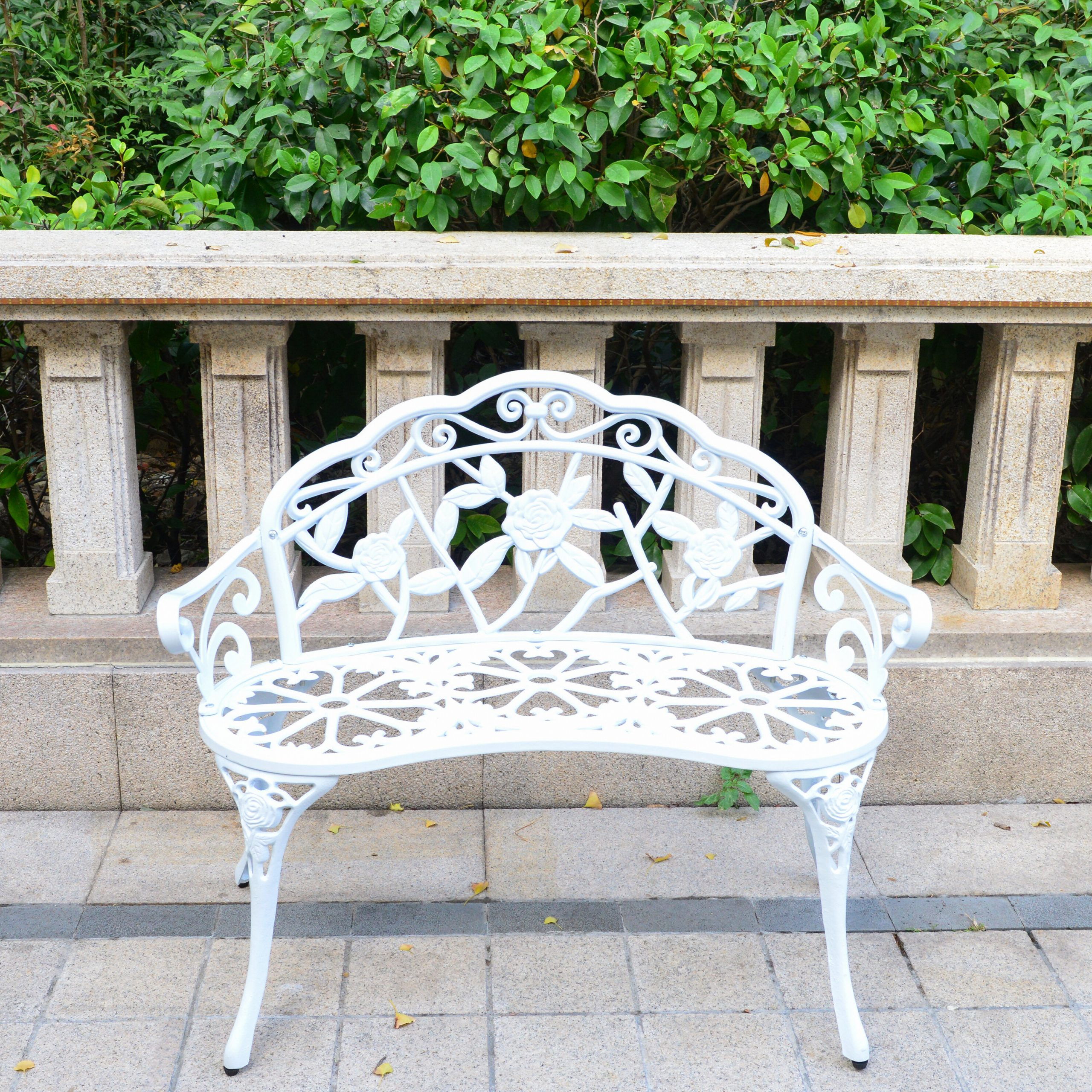 Outdoor Bench Cast Aluminum, Front Porch Benches Garden Metal Loveseat Patio Furniture, Rose Carving And Weather Resistant White With Regard To Heslin Steel Park Benches (View 10 of 25)