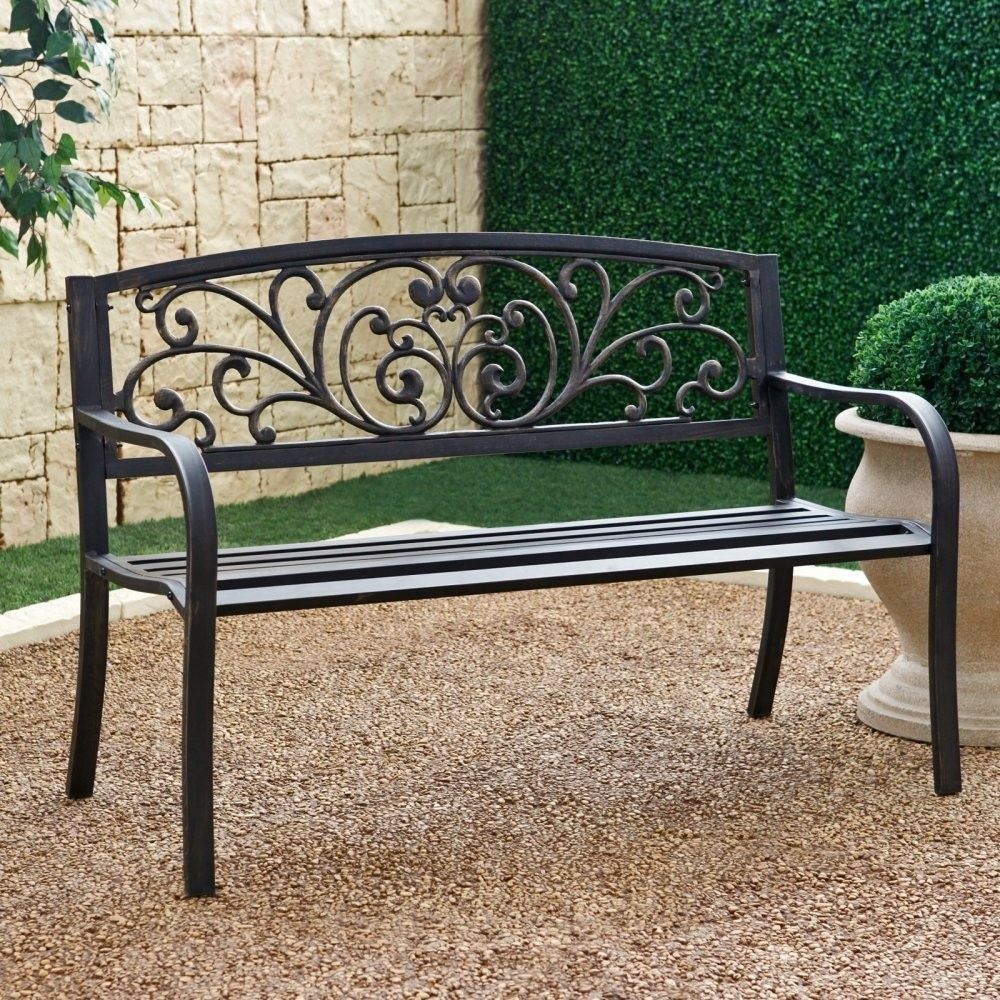 Outdoor Garden Bench With Slatted Seat And Rustic Metal Regarding Celtic Knot Iron Garden Benches (View 22 of 25)