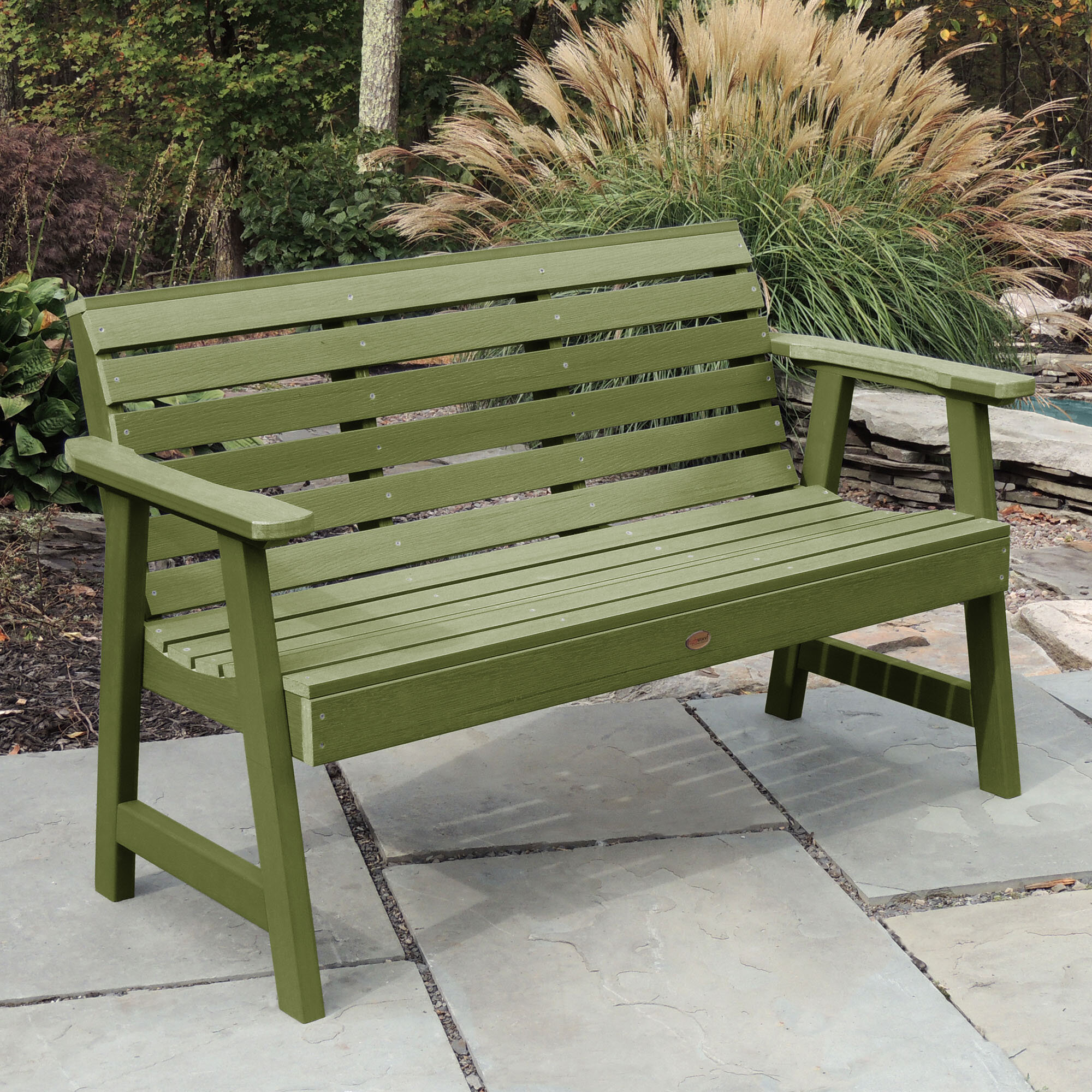 Outdoor Green Benches | Wayfair With Krystal Ergonomic Metal Garden Benches (View 9 of 25)
