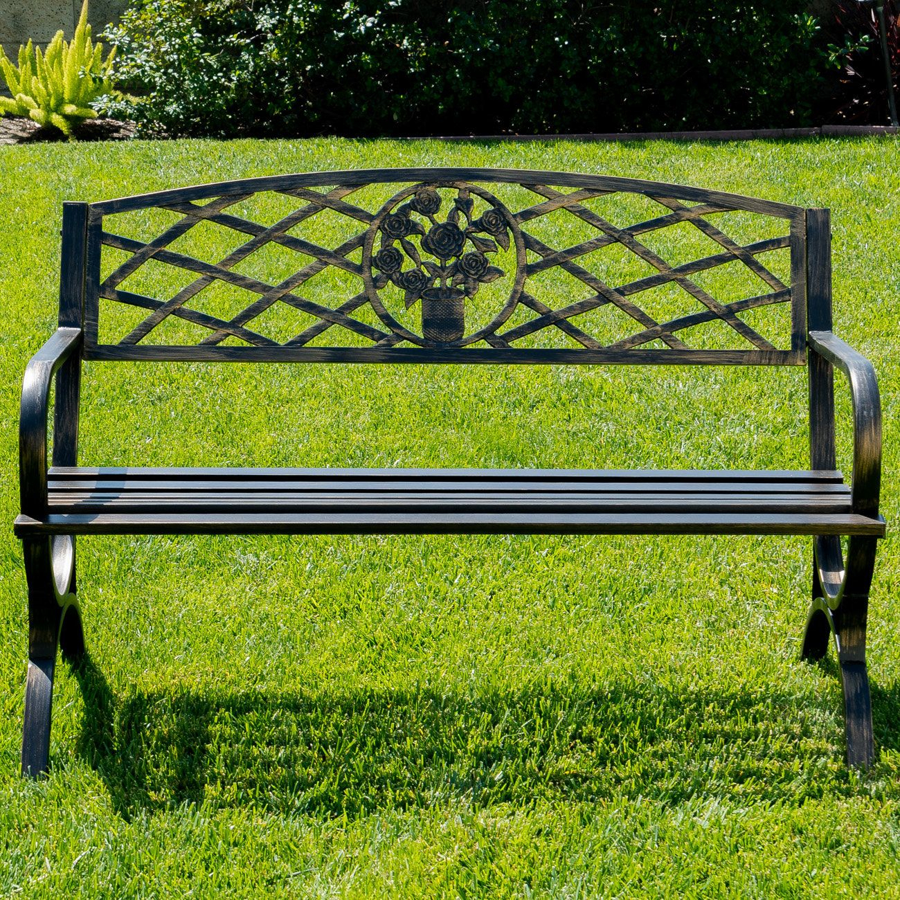 Outdoor Metal Park Bench | Metal Garden Benches, Garden In Gabbert Wooden Garden Benches (View 25 of 25)