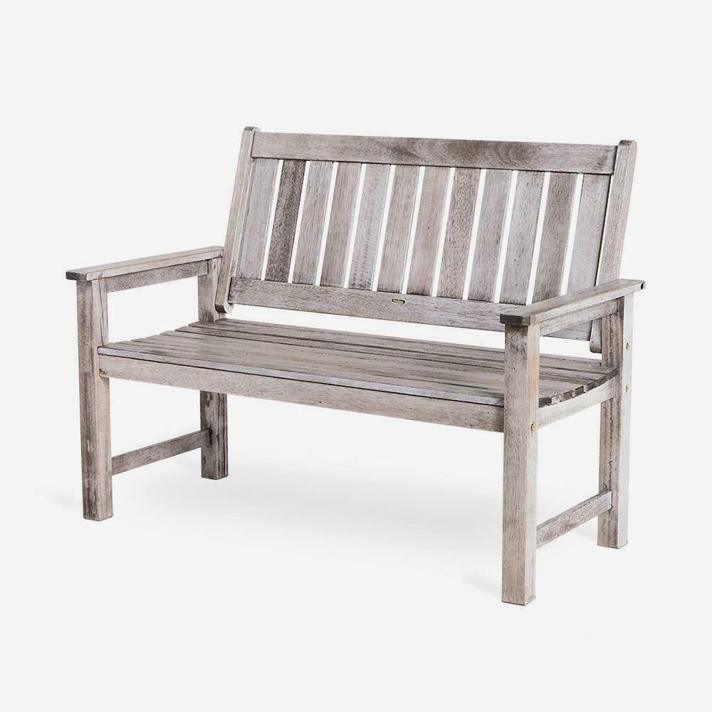 Outdoor Patio Deck Seater Grey Garden Bench Seat | Garden Pertaining To Elsner Acacia Garden Benches (View 11 of 25)