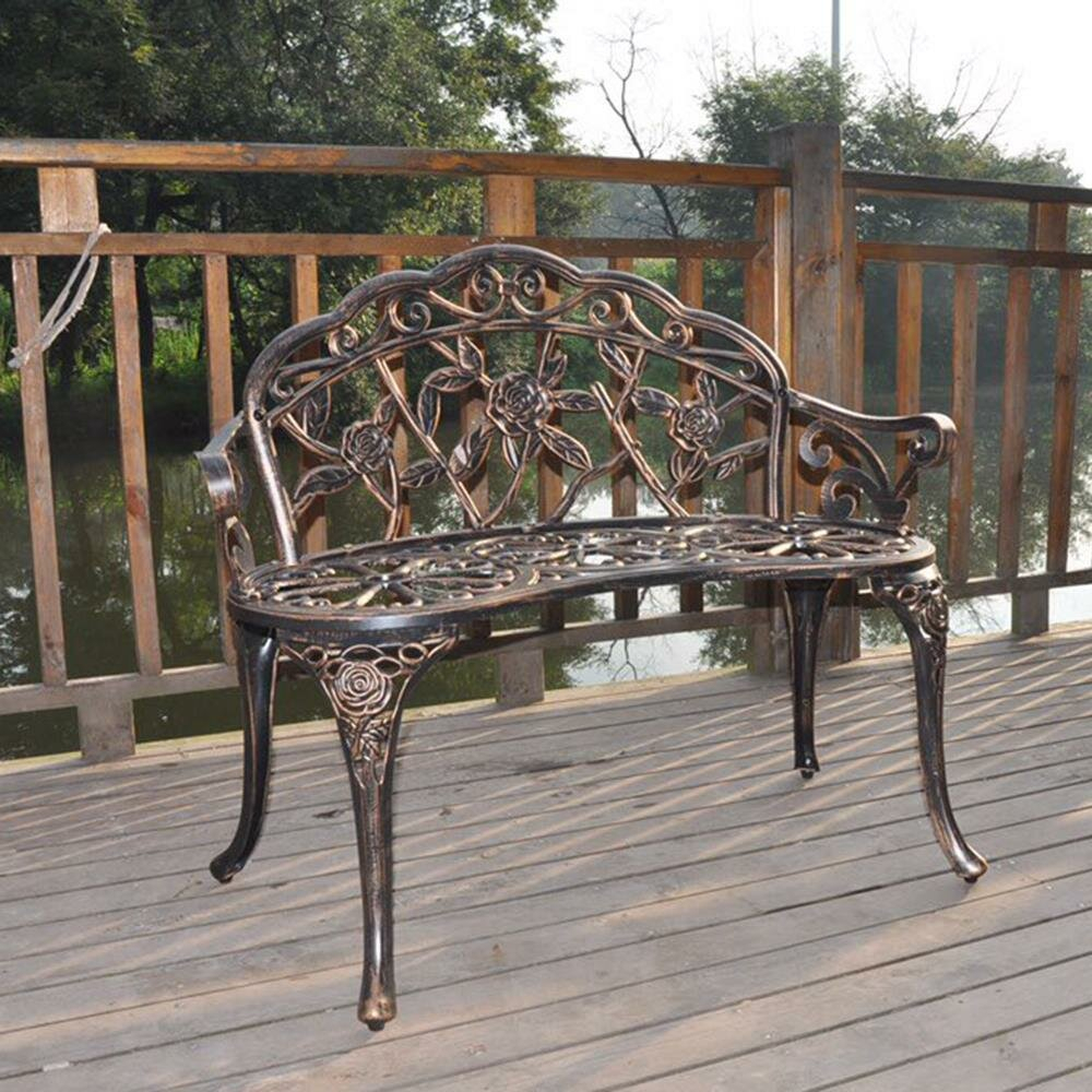 Outdoor Patio Park Bench Courtyard Leisure Rose Cast Aluminum Chair Pertaining To Ismenia Checkered Outdoor Cast Aluminum Patio Garden Benches (View 9 of 25)