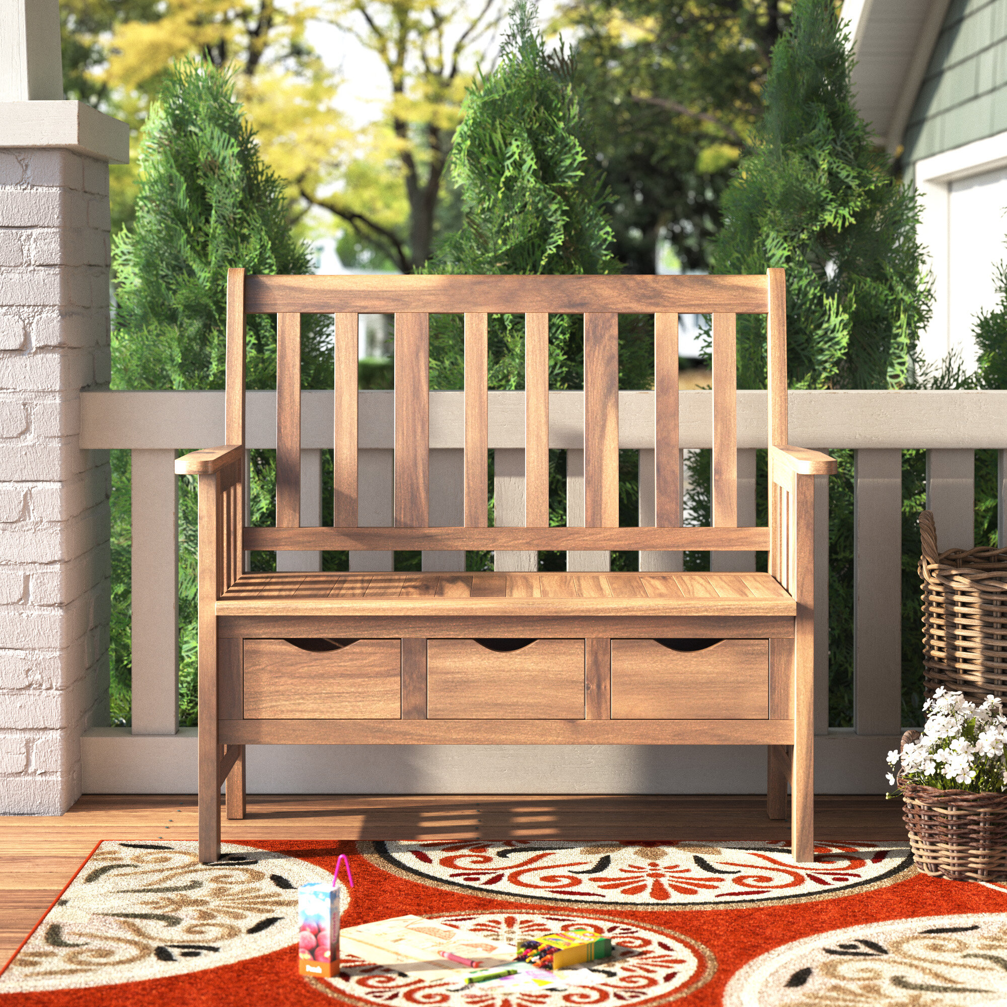 Outdoor Storage Benches | Wayfair Throughout Skoog Chevron Wooden Storage Benches (View 12 of 25)