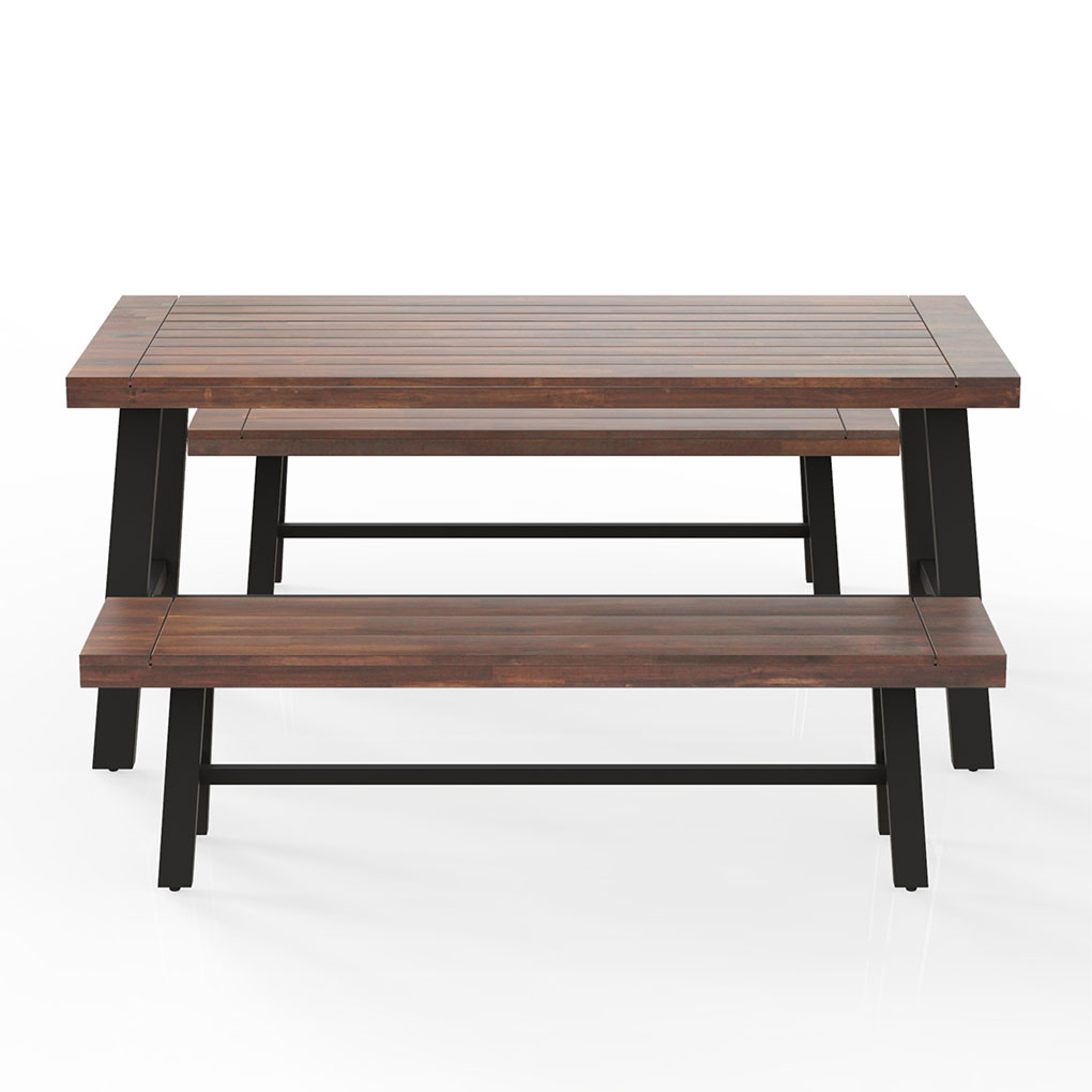 Outdoor Wooden Table Bench Set Solid Walnut Wood Patio Courtyard Garden Dining Table Chair – Walmart For Walnut Solid Wood Garden Benches (View 11 of 25)