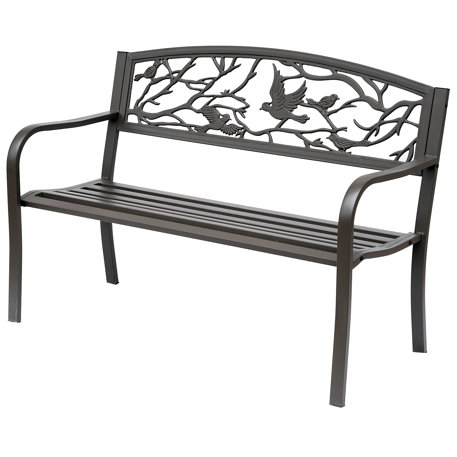 "Outsunny 50"" Vintage Bird Pattern Garden Cast Iron Patio Bench – Brown For Madeline Vintage Bird Cast Iron Garden Benches (View 18 of 25)"
