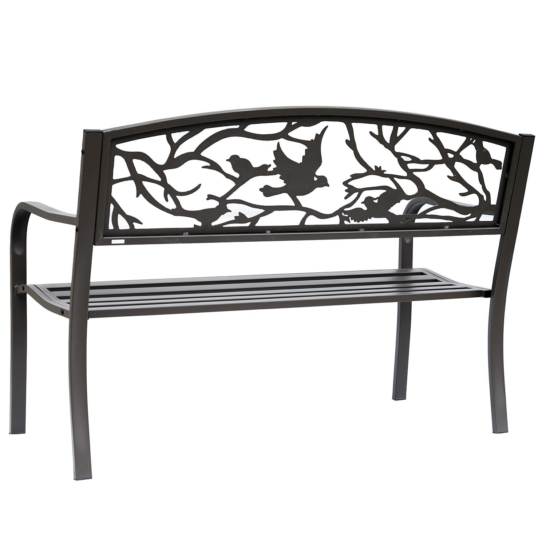 "Outsunny 50"" Vintage Bird Pattern Garden Cast Iron Patio Bench – Brown Inside Madeline Vintage Bird Cast Iron Garden Benches (View 7 of 25)"