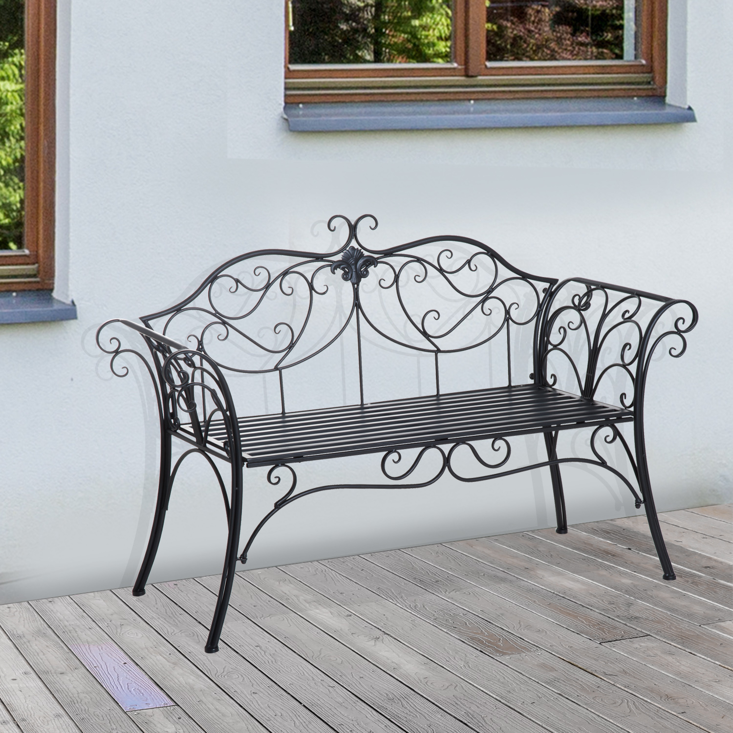 Outsunny Garden Bench Porch Outdoor Seat Chair Backrest Metal Black Park Within Blooming Iron Garden Benches (View 22 of 25)