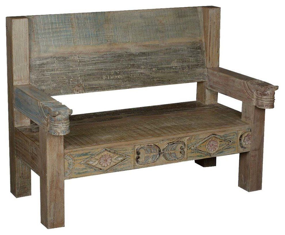 Ozark Hand Carved Reclaimed Wood Porch Bench W High Back Within Avoca Wood Garden Benches (View 24 of 25)