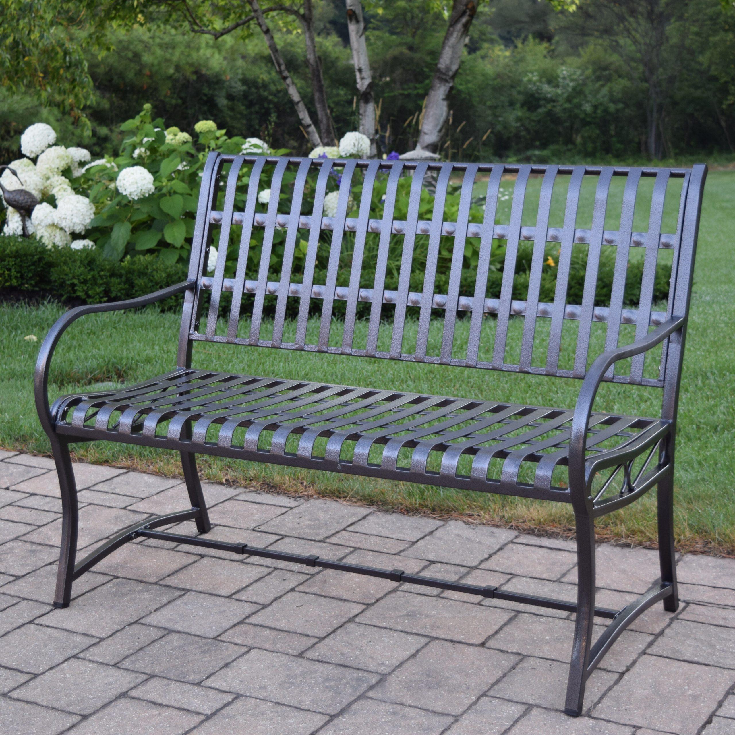 Pabai Iron Garden Bench Regarding Alvah Slatted Cast Iron And Tubular Steel Garden Benches (View 15 of 25)