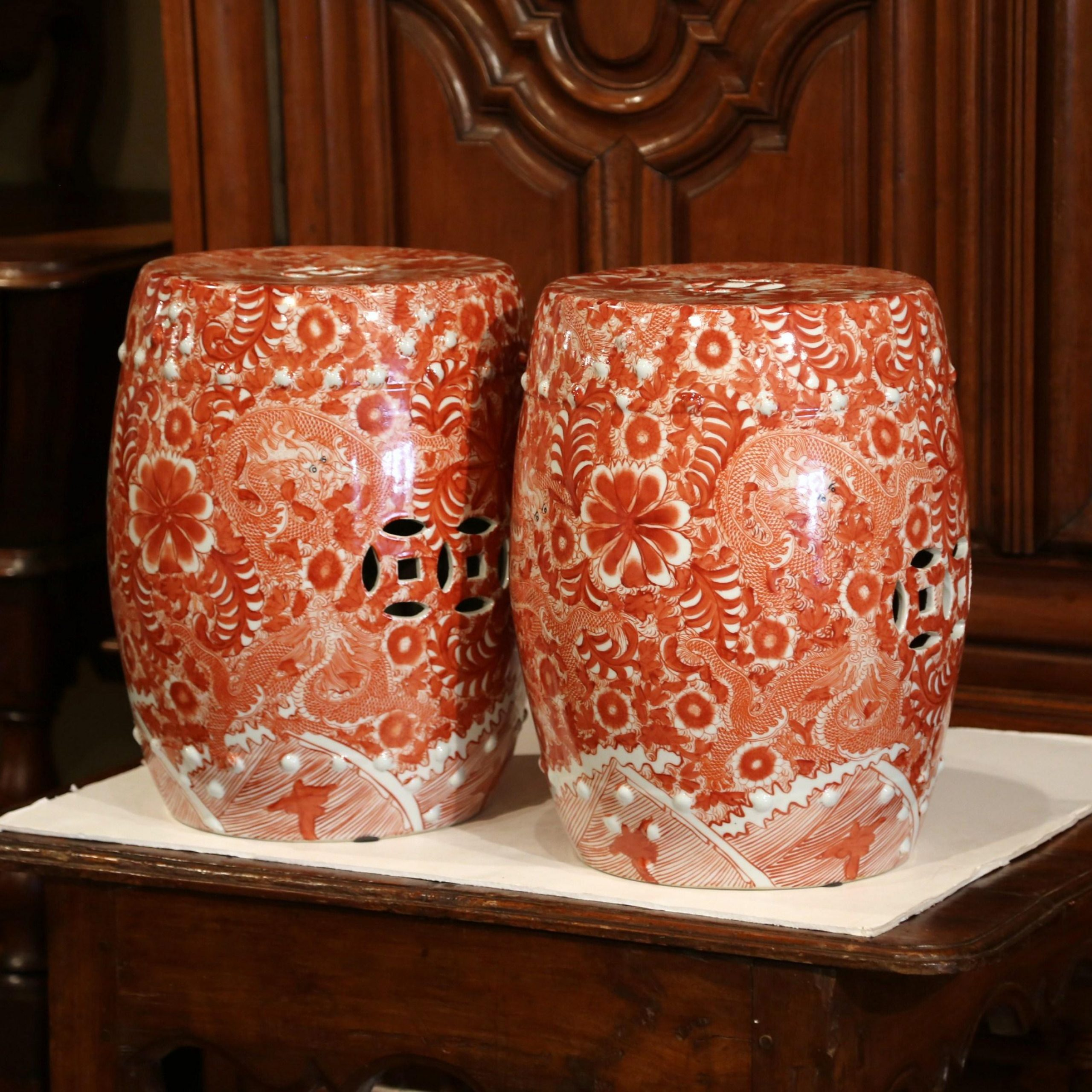 Pair Of Mid 20Th Century Chinese Porcelain Garden Stools With Dragon Motif Within Dragon Garden Stools (View 25 of 26)