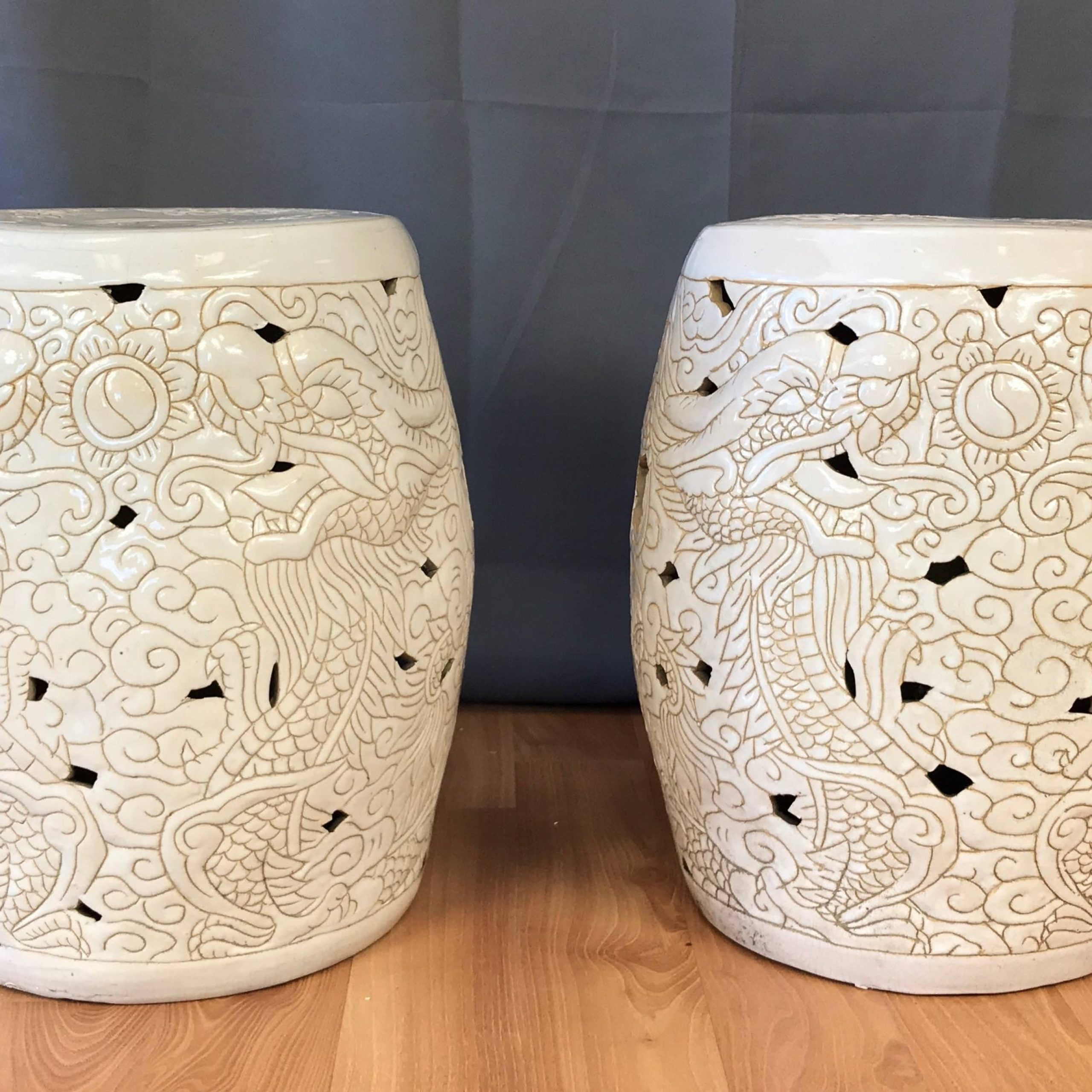 Pair Of Vintage Chinese Dragon Motif White Ceramic Garden Stools Inside Oakside Ceramic Garden Stools (View 16 of 25)