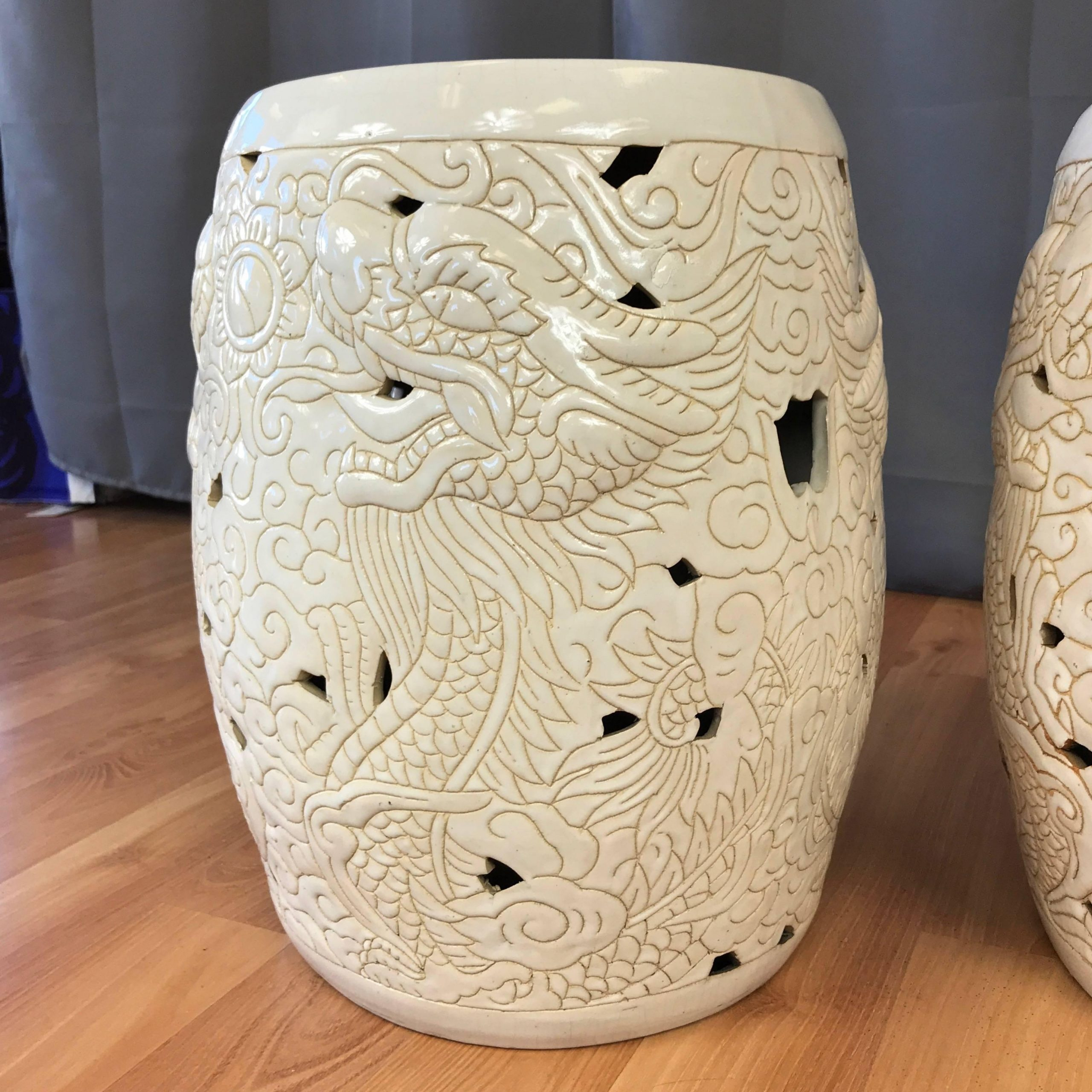 Pair Of Vintage Chinese Dragon Motif White Ceramic Garden Stools Within Oakside Ceramic Garden Stools (View 19 of 25)