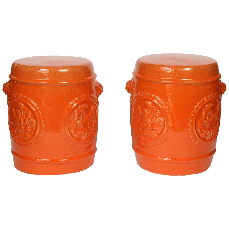 Pair Of Vintage Orange Ceramic Garden Stools | Ceramic For Holbrook Ceramic Garden Stools (View 7 of 25)