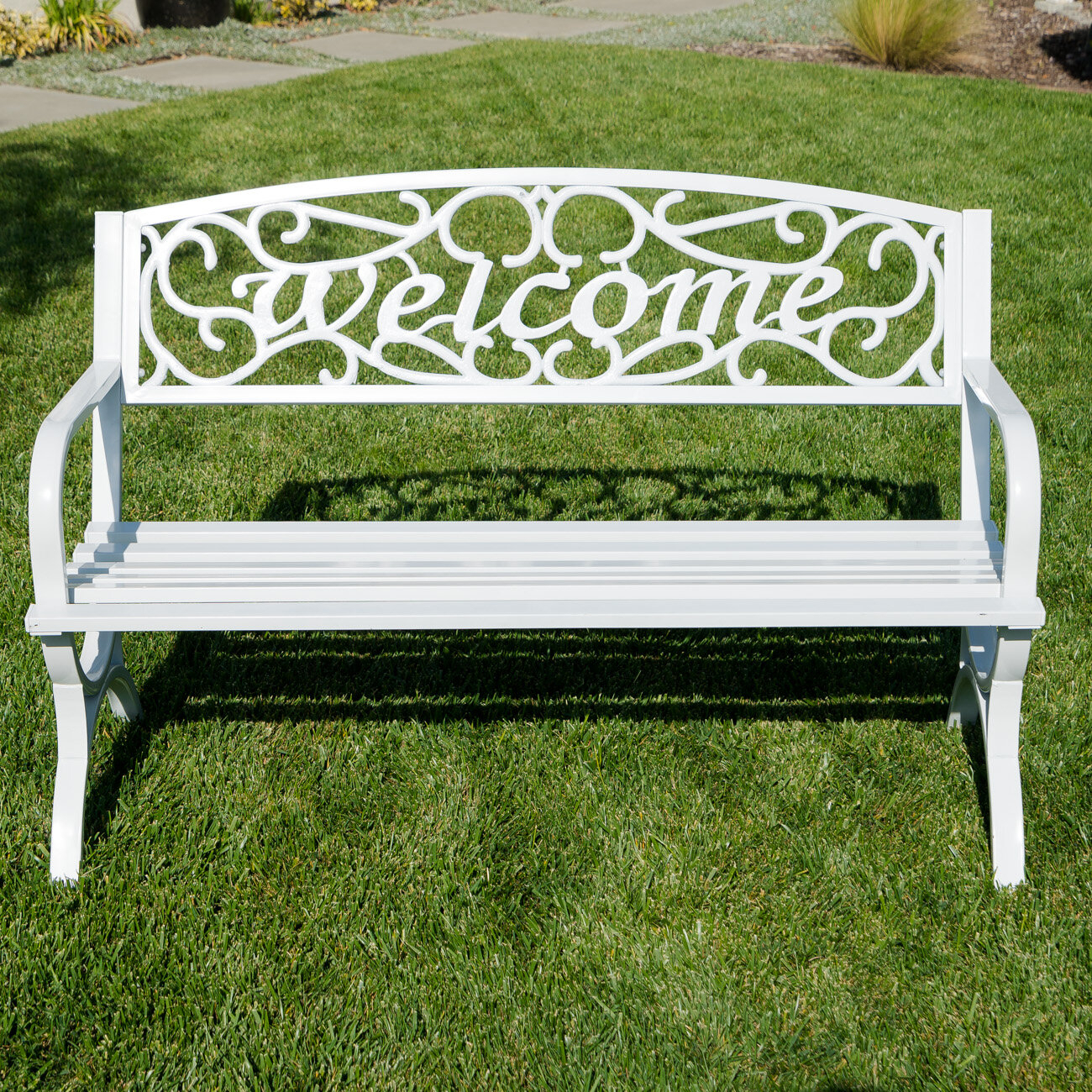 Park White Outdoor Benches You'Ll Love In 2020 | Wayfair Inside Heslin Steel Park Benches (View 3 of 25)