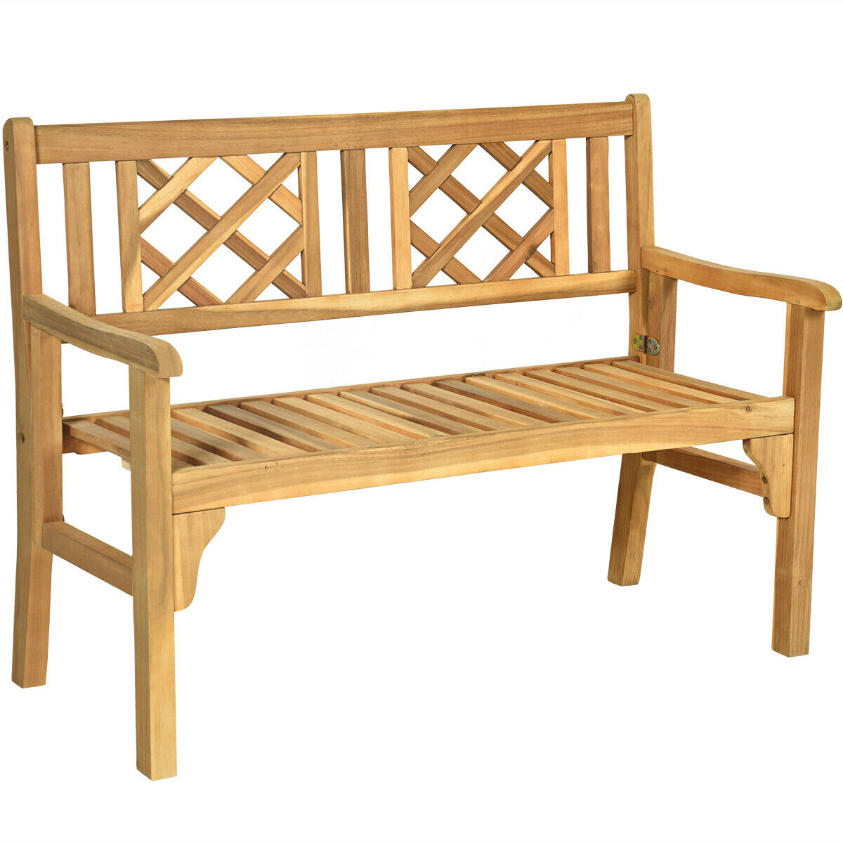 Patio Outdoor Acacia Wood Bench Folding Loveseat Chair Garden Furniture Teak Inside Hampstead Teak Garden Benches (View 7 of 25)