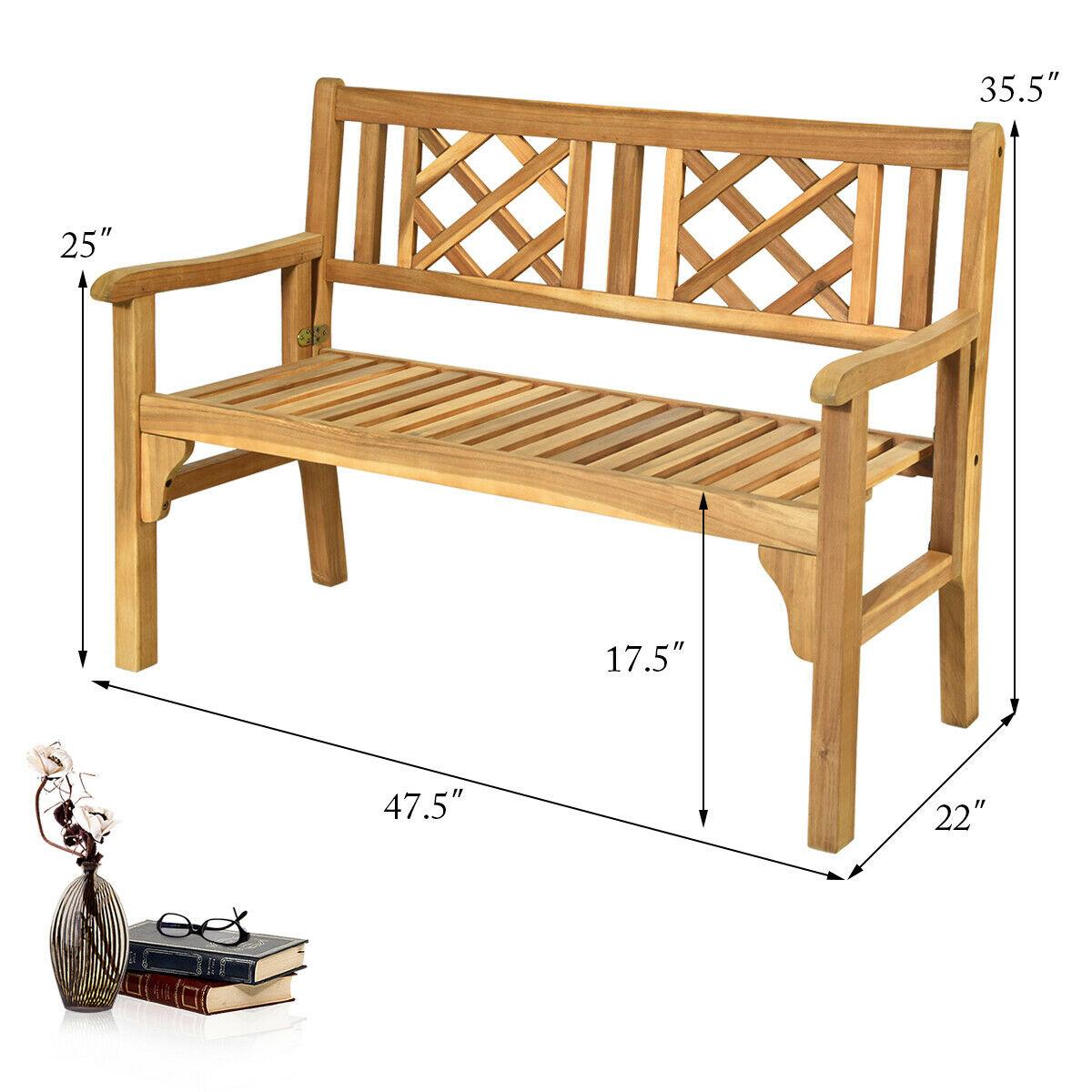 Patio Outdoor Acacia Wood Bench Folding Loveseat Chair Garden Furniture Teak Within Hampstead Heath Teak Garden Benches (View 12 of 25)