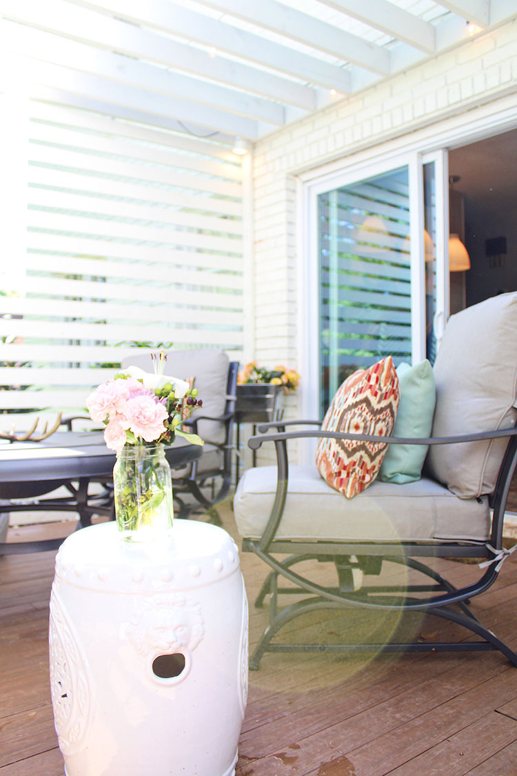 Patio Privacy Makeover With Pergola – The Home Depot Blog Within Svendsen Ceramic Garden Stools (View 21 of 25)