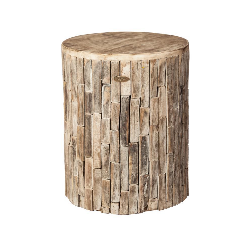 Patio Sense Elyse Round Wood Outdoor Garden Stool – Home Depot For Tillia Ceramic Garden Stools (View 6 of 25)