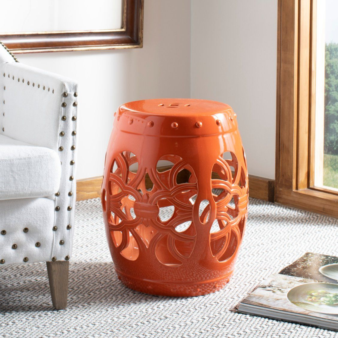 Perked Up With Eye Popping Orange, The Ages Old Motif Of The With Amettes Garden Stools (View 16 of 25)