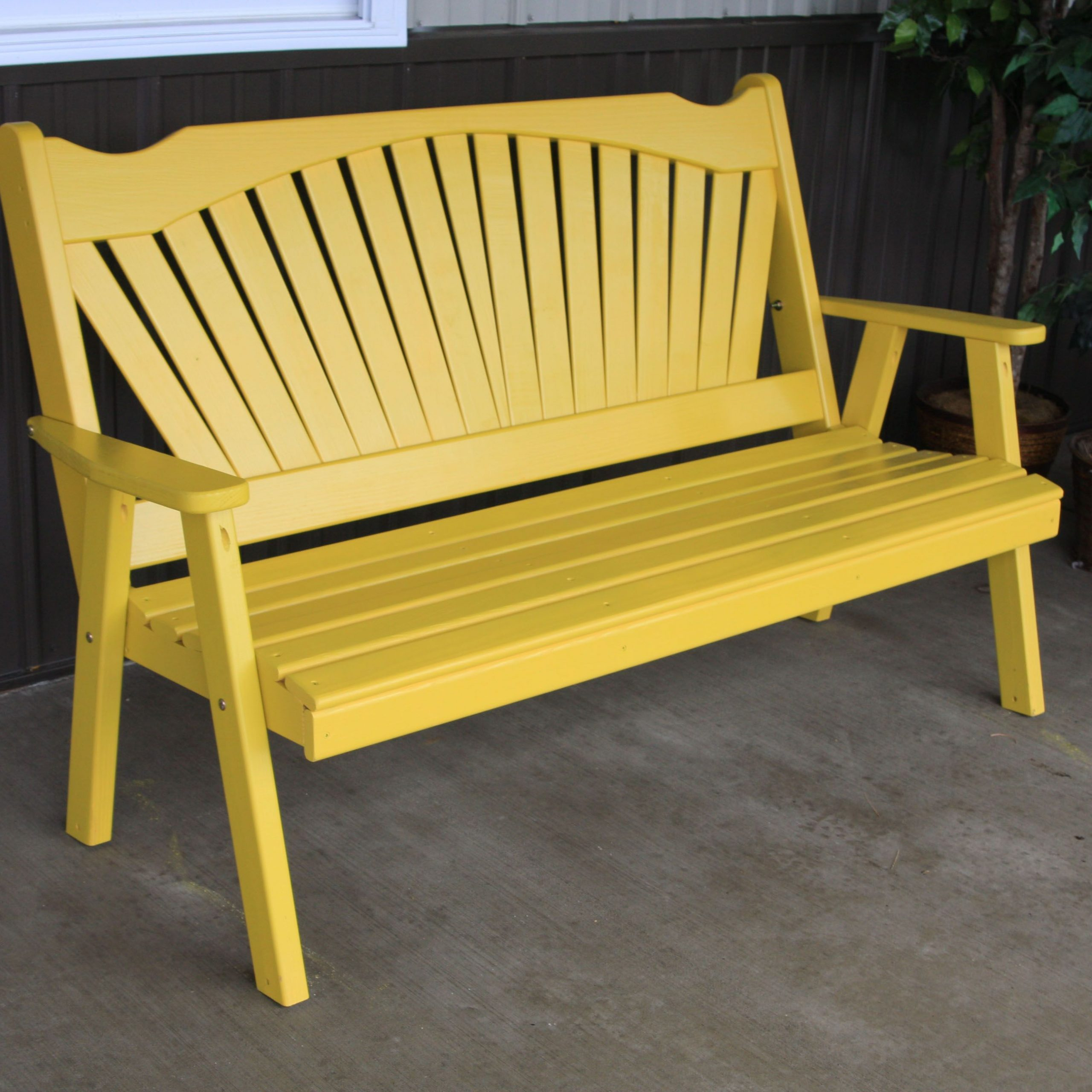 Pine 5' Fanback Bench A&L | Garden Bench, Outdoor Deck With Skoog Chevron Wooden Storage Benches (View 22 of 25)