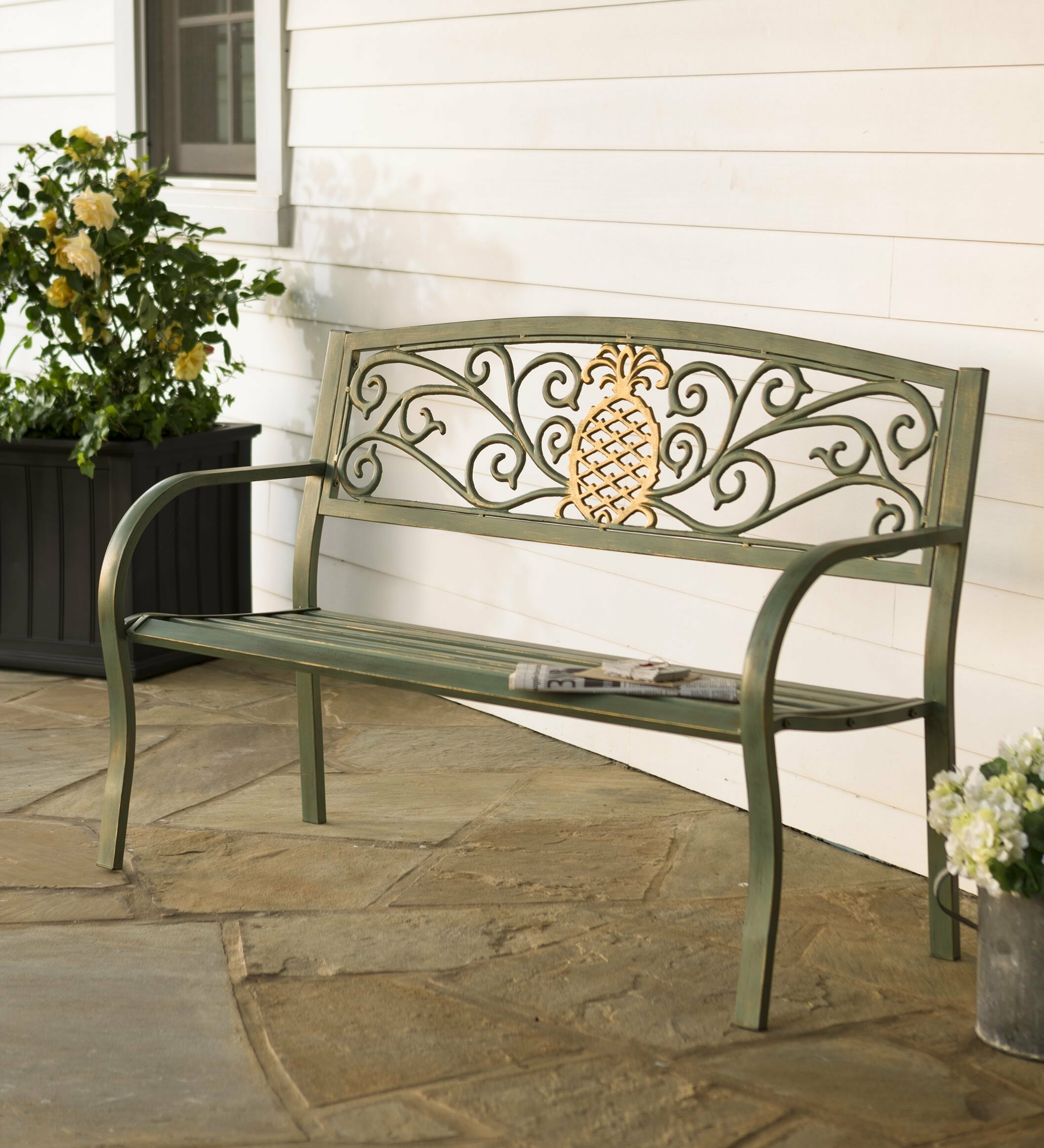 Pineapple Metal Garden Bench Within Cavin Garden Benches (View 7 of 25)