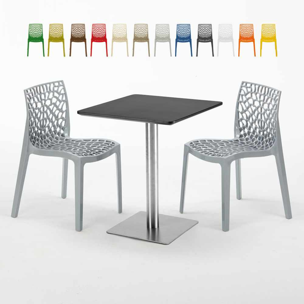 Pistachio Set Made Of A 60X60Cm Black Square Table And 2 Colourful Gruvyer Chairs Regarding Messina Garden Stools Set (Set Of 2) (View 12 of 25)