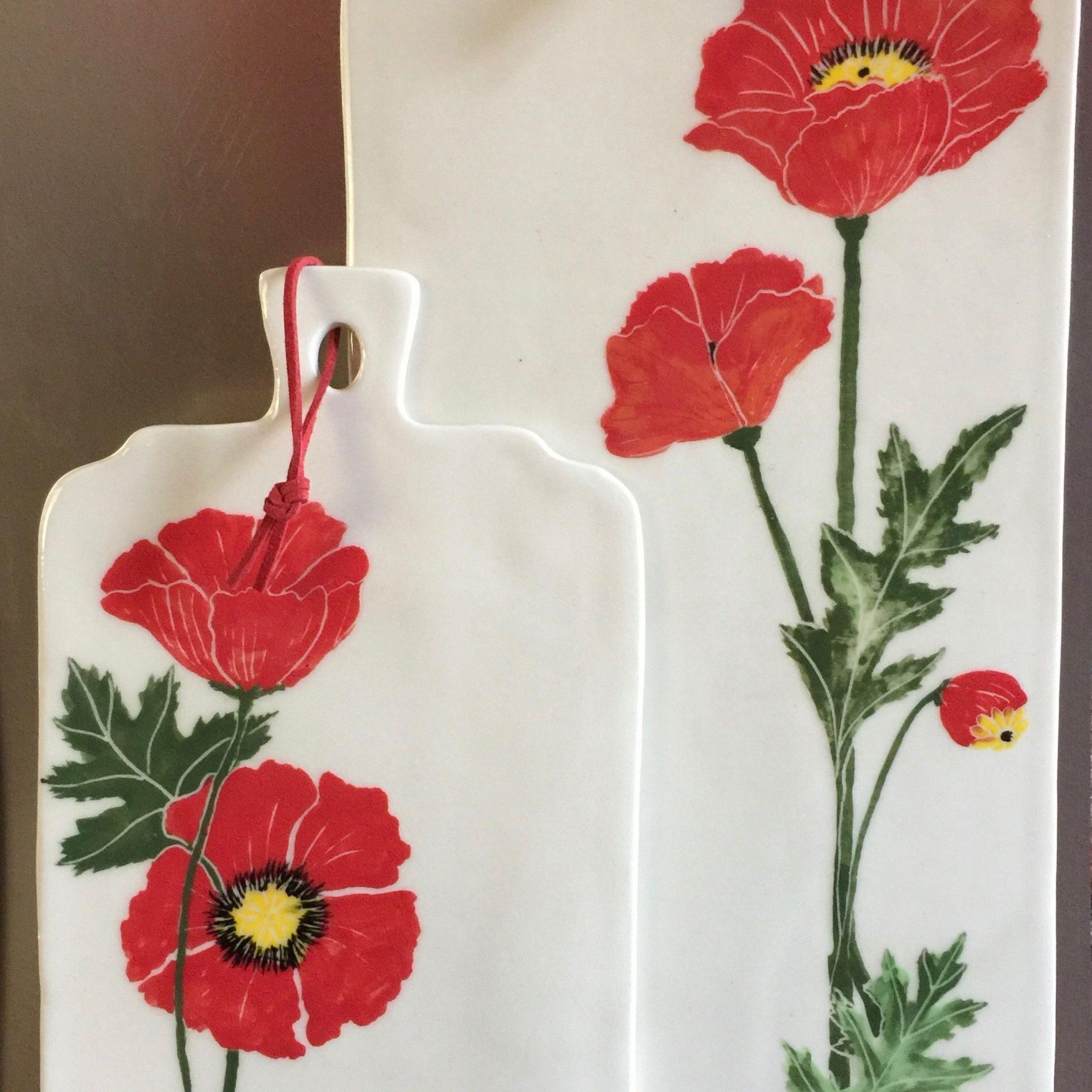 Poppy Cheese Boardsmarie Wetzel | Pottery Designs Within Wilde Poppies Ceramic Garden Stools (View 25 of 25)