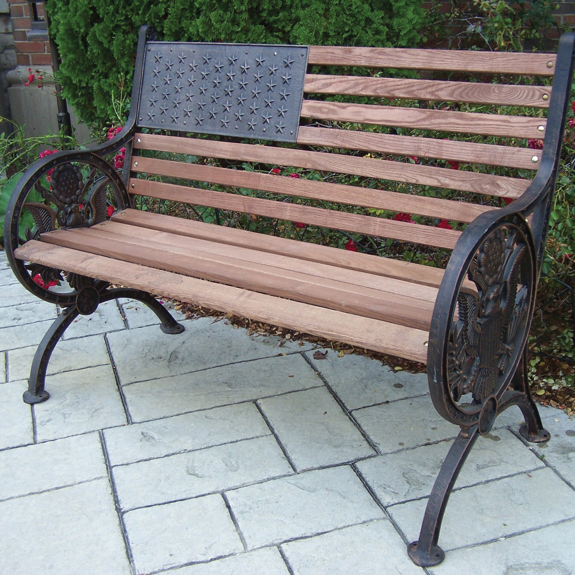 Proud American Wooden/Cast Iron Park Bench Throughout Madeline Vintage Bird Cast Iron Garden Benches (View 19 of 25)