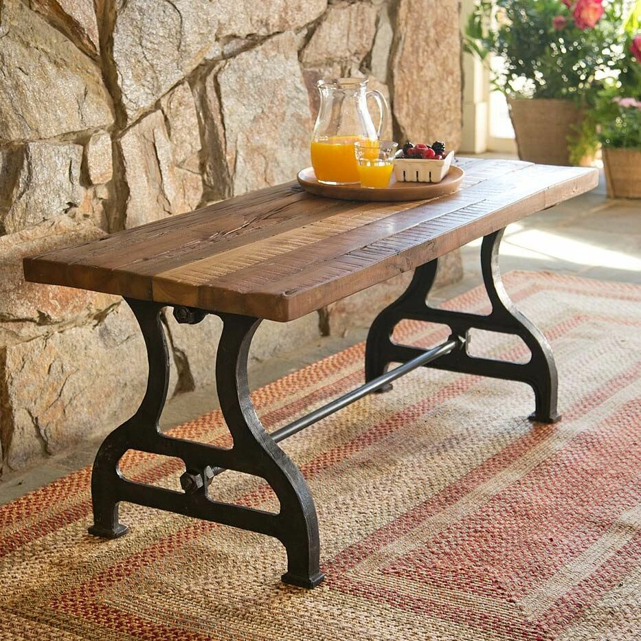Reclaimed Wood/Iron Garden Bench With Ossu Iron Picnic Benches (View 14 of 25)