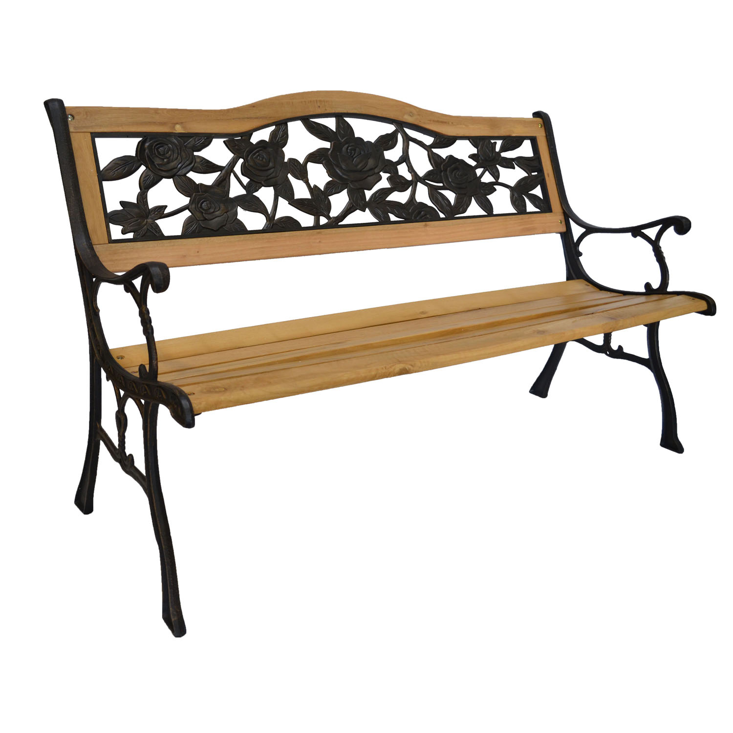 Rose Bloom Cast Iron Park Bench W/ Resin Back Insert For Yard Or Garden V2 – Walmart Within Blooming Iron Garden Benches (View 12 of 25)