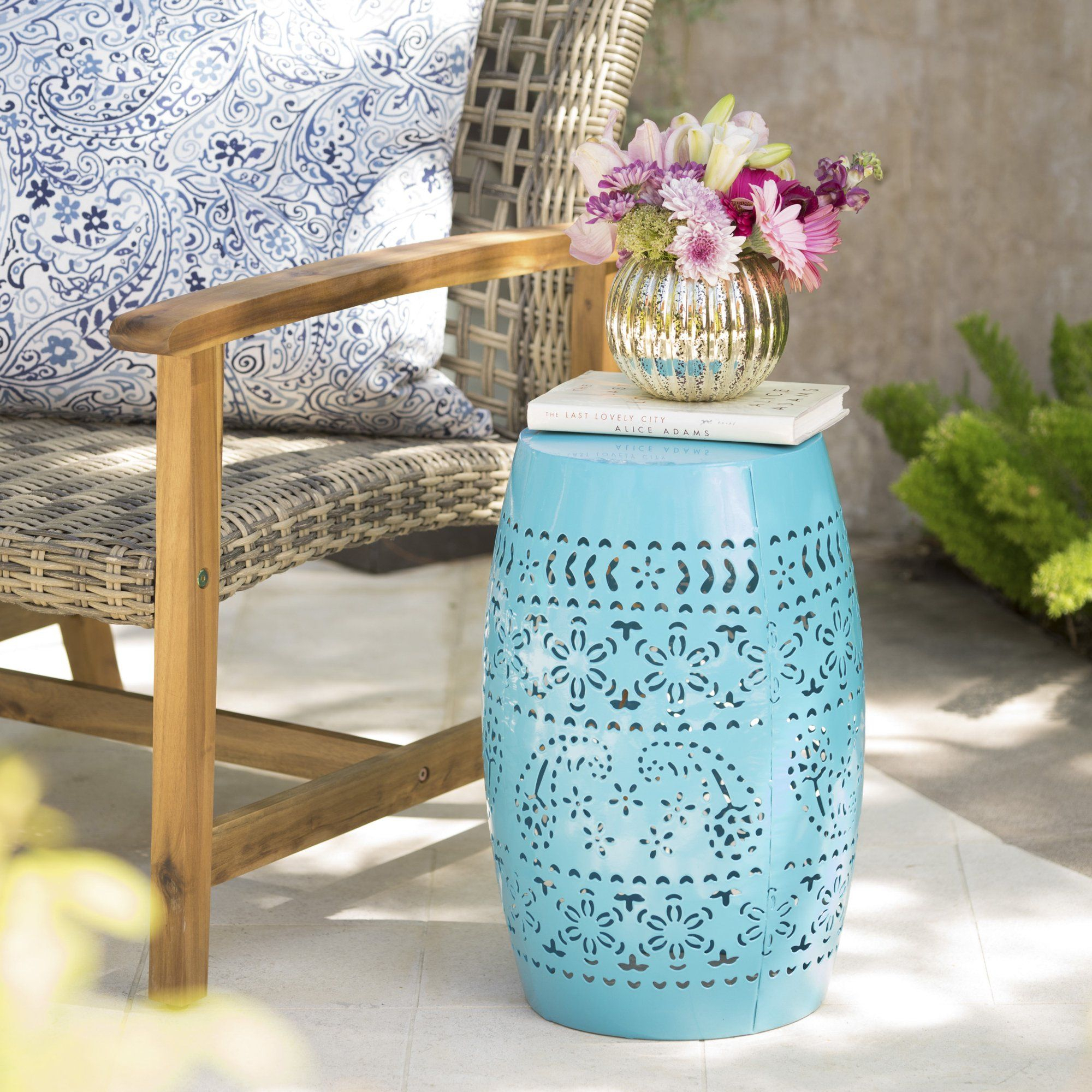 """Rosie Outdoor 12"""" Iron Side Table, Blue – Walmart In In Holbrook Ceramic Garden Stools (View 23 of 25)"""