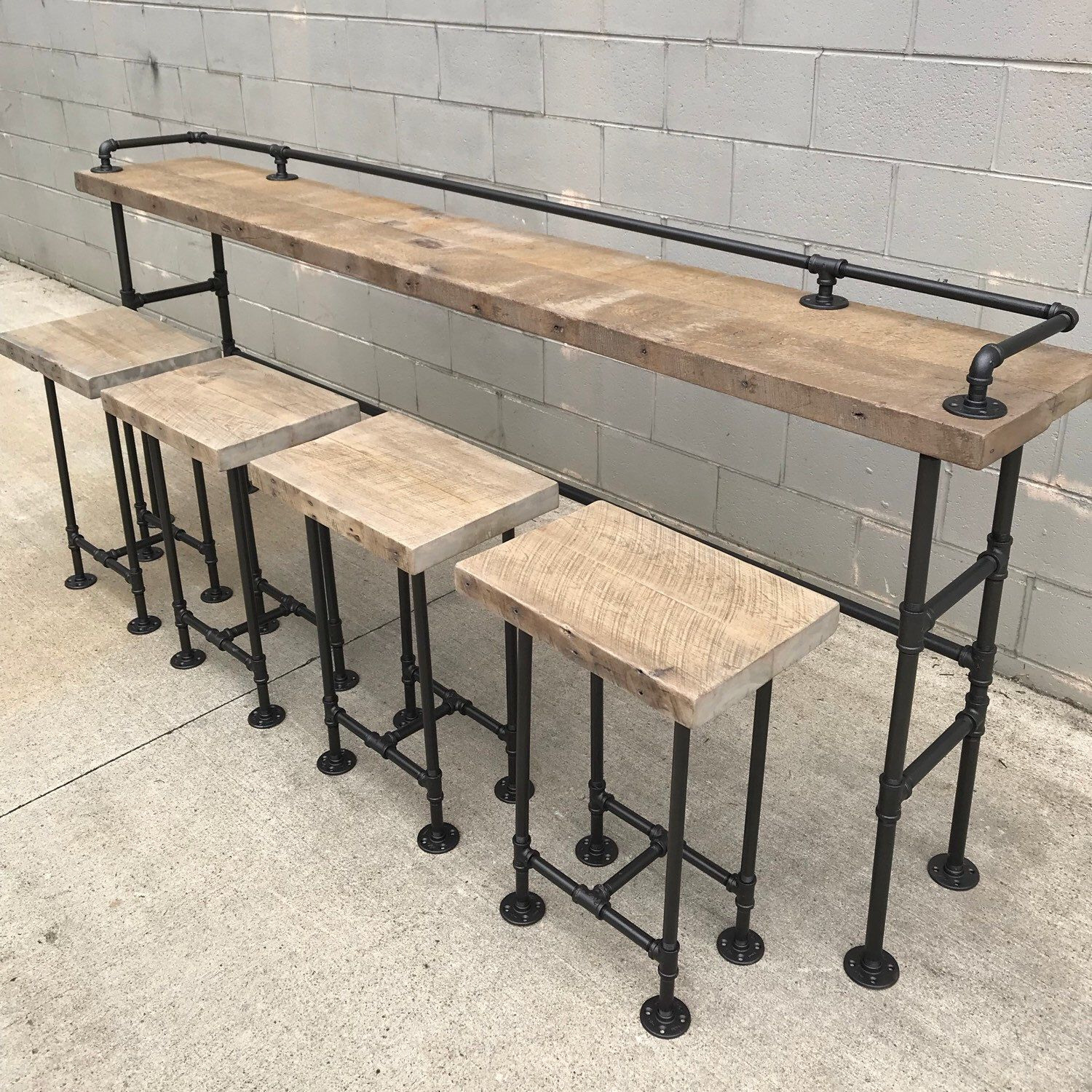 Rustic Gray Sofa Bar. 8Ft Long With Matching Stools (View 18 of 25)