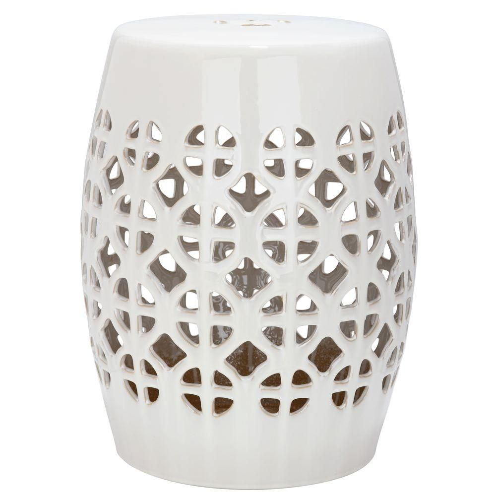 Safavieh Circle Lattice White Ceramic Garden Stool Acs4508A Throughout Keswick Ceramic Garden Stools (View 25 of 25)